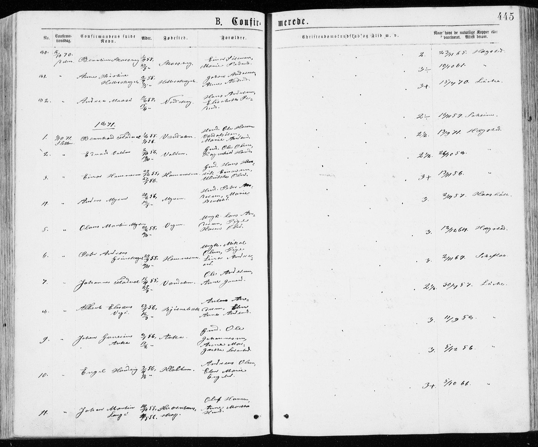 SAT, Ministerialprotokoller, klokkerbøker og fødselsregistre - Sør-Trøndelag, 640/L0576: Ministerialbok nr. 640A01, 1846-1876, s. 445