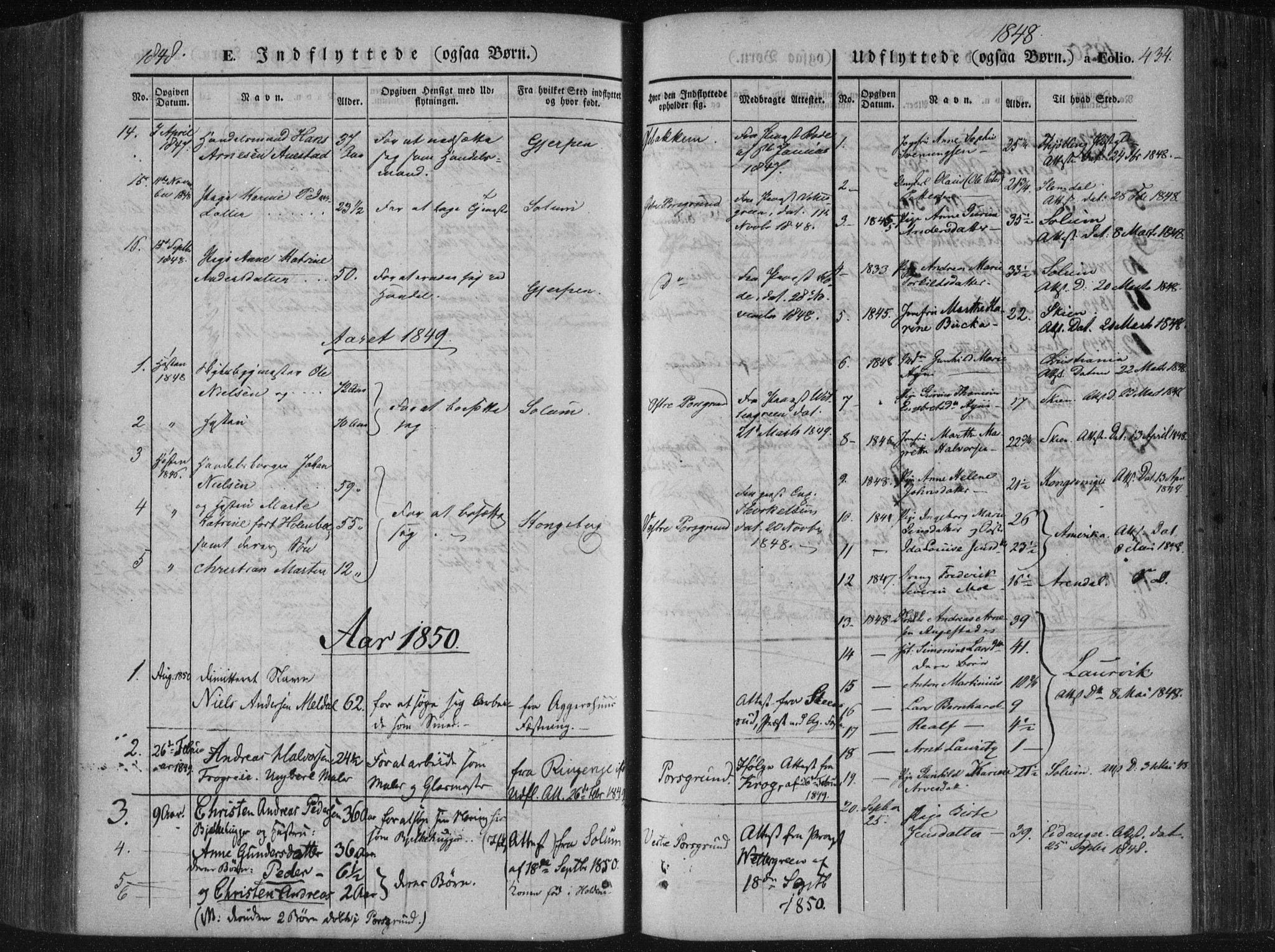 SAKO, Porsgrunn kirkebøker , F/Fa/L0006: Ministerialbok nr. 6, 1841-1857, s. 434