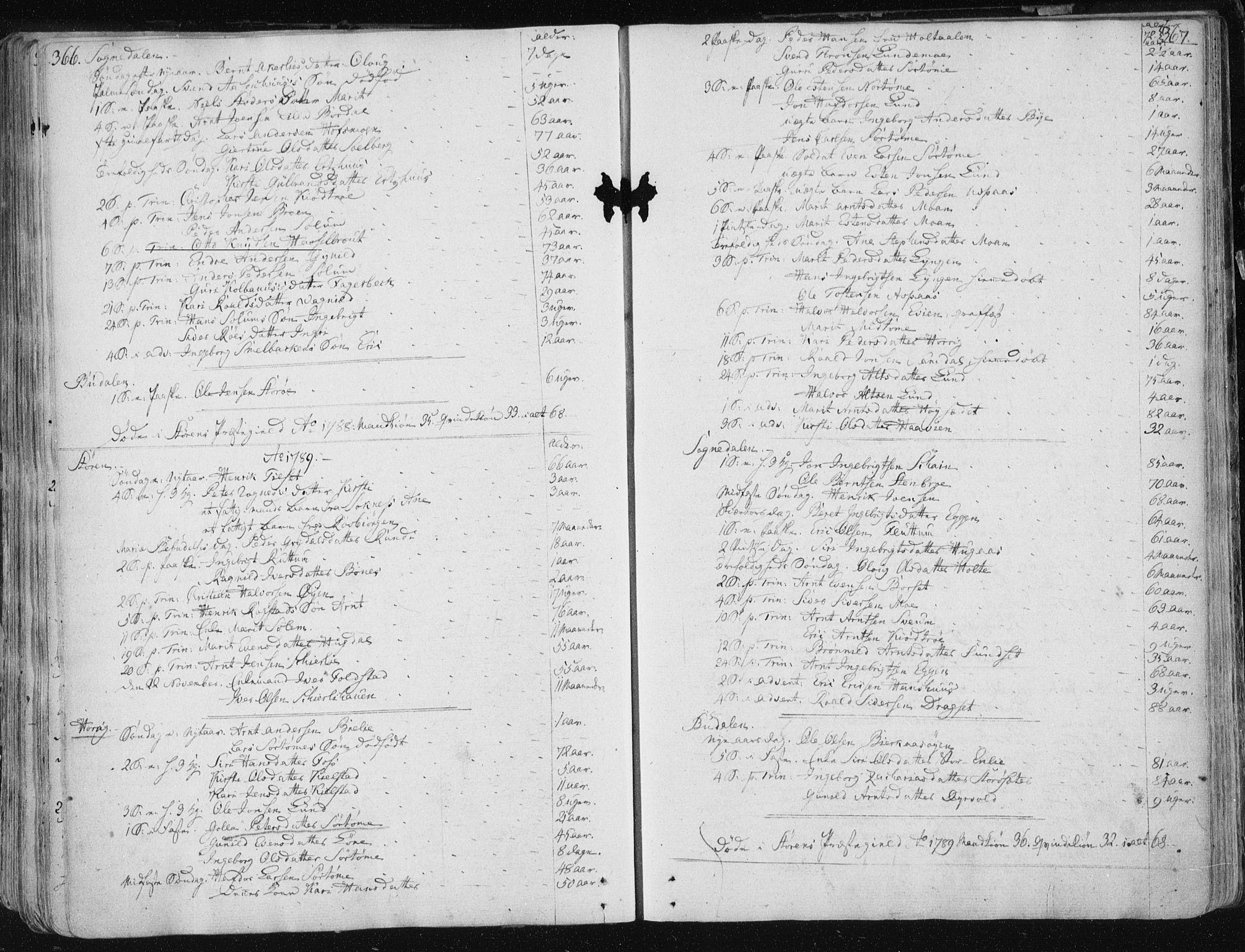 SAT, Ministerialprotokoller, klokkerbøker og fødselsregistre - Sør-Trøndelag, 687/L0992: Ministerialbok nr. 687A03 /1, 1788-1815, s. 366-367