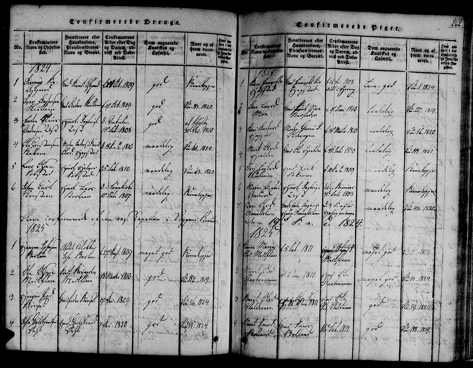 SAT, Ministerialprotokoller, klokkerbøker og fødselsregistre - Sør-Trøndelag, 691/L1067: Ministerialbok nr. 691A03 /3, 1816-1826, s. 262
