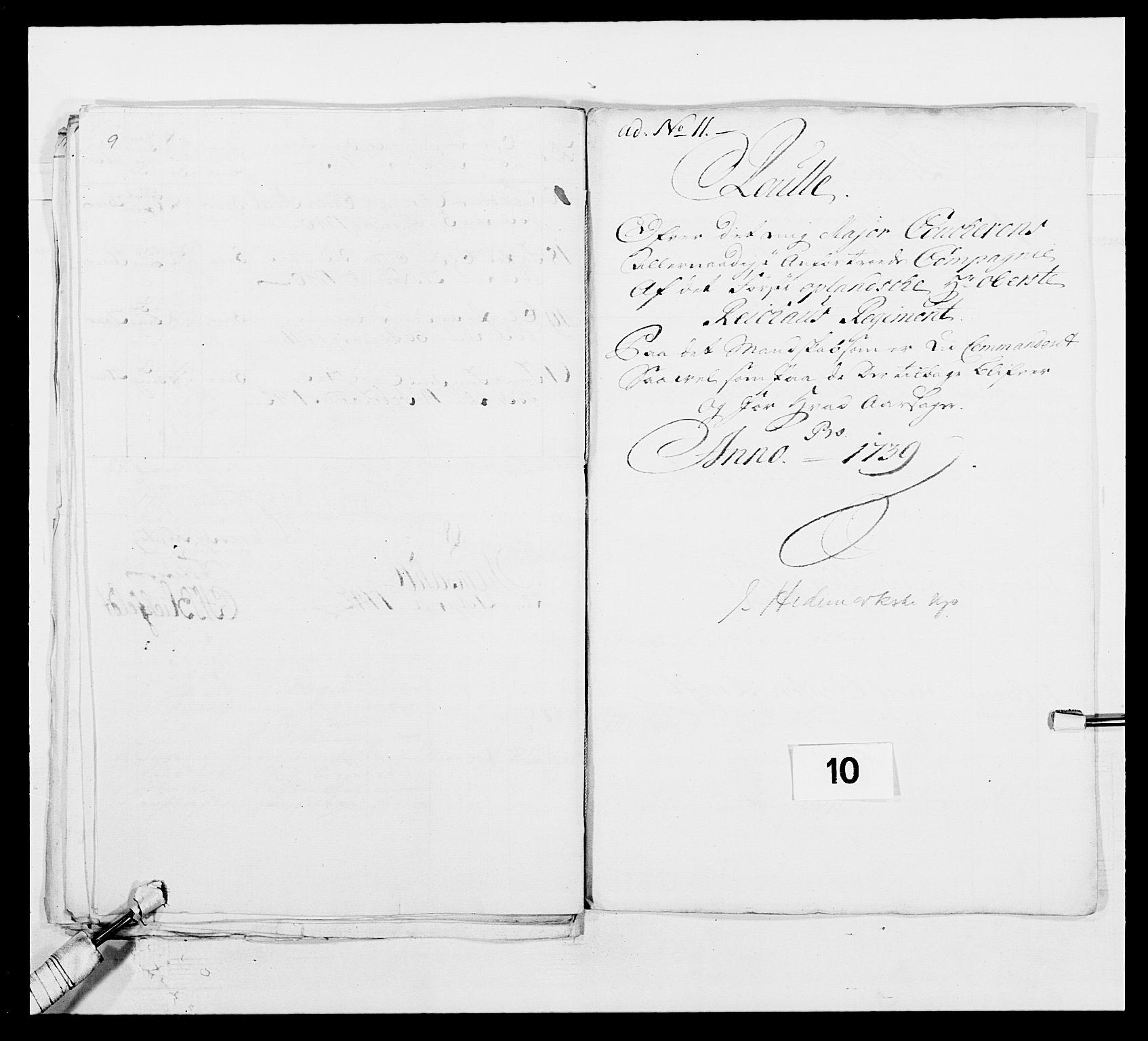 RA, Kommanderende general (KG I) med Det norske krigsdirektorium, E/Ea/L0502: 1. Opplandske regiment, 1720-1743, s. 109