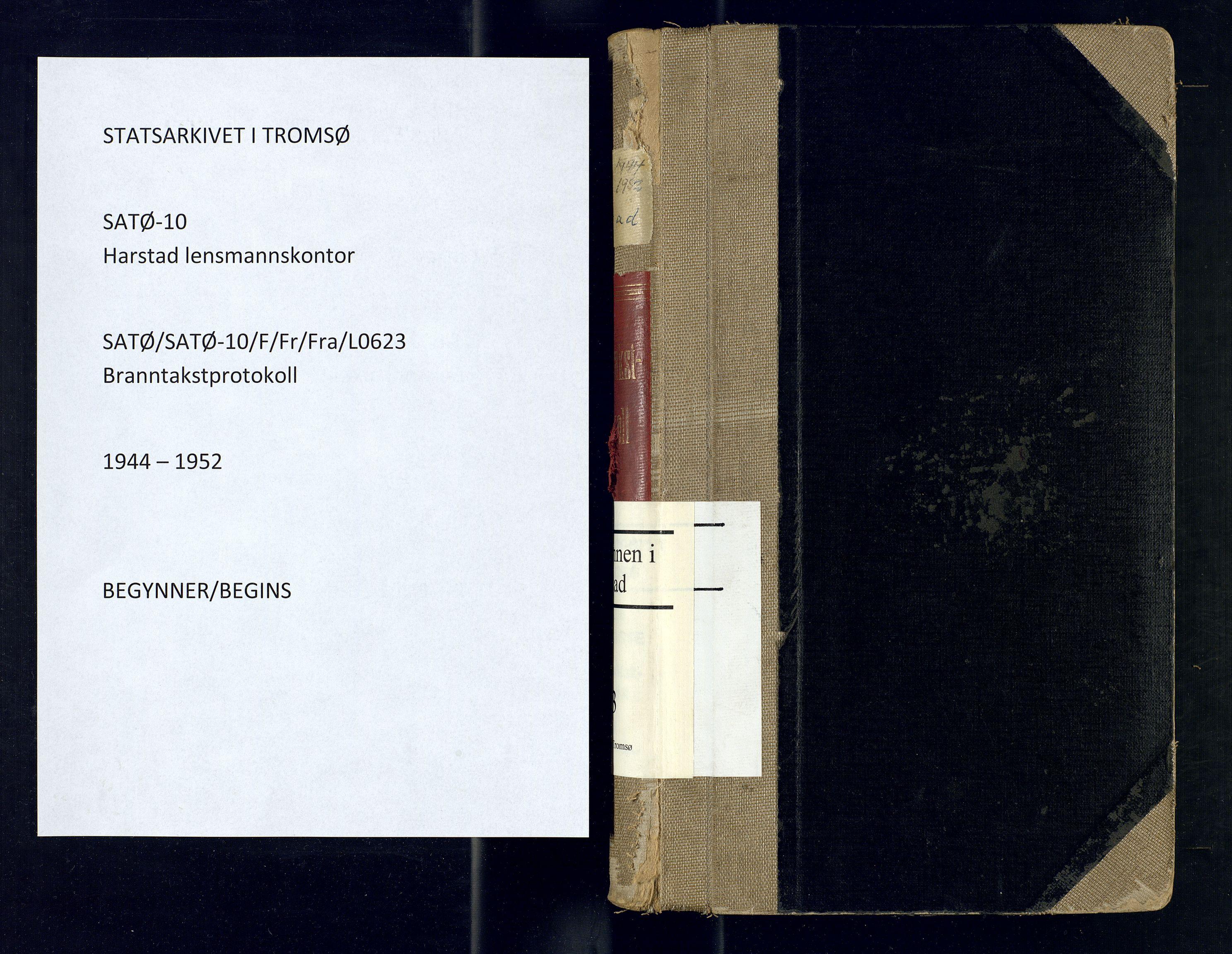 SATØ, Harstad lensmannskontor, F/Fr/Fra/L0623: Branntakstprotokoll. Autorisert for Harstad by, 1944-1952