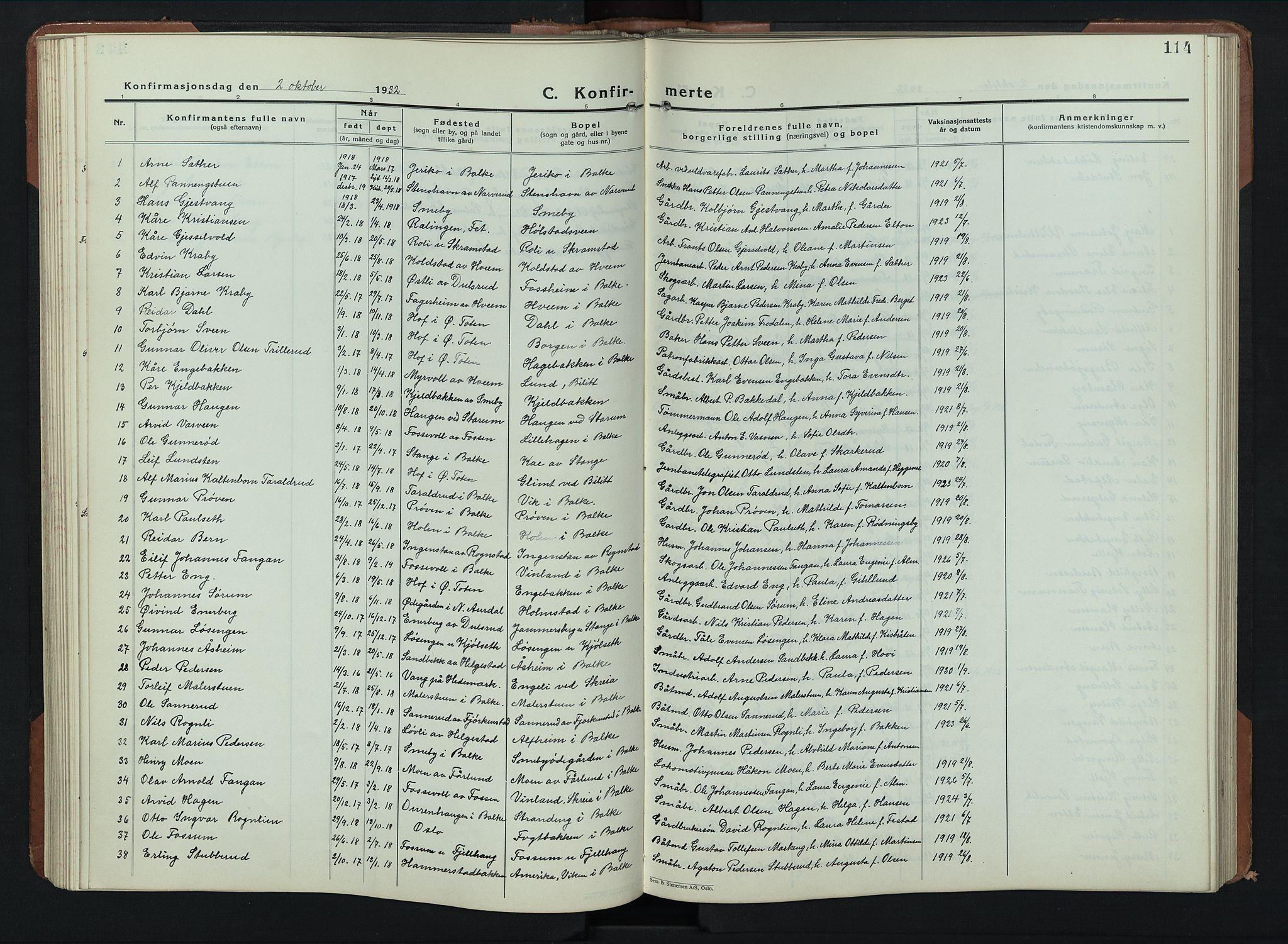 SAH, Balke prestekontor, Klokkerbok nr. 2, 1929-1951, s. 114
