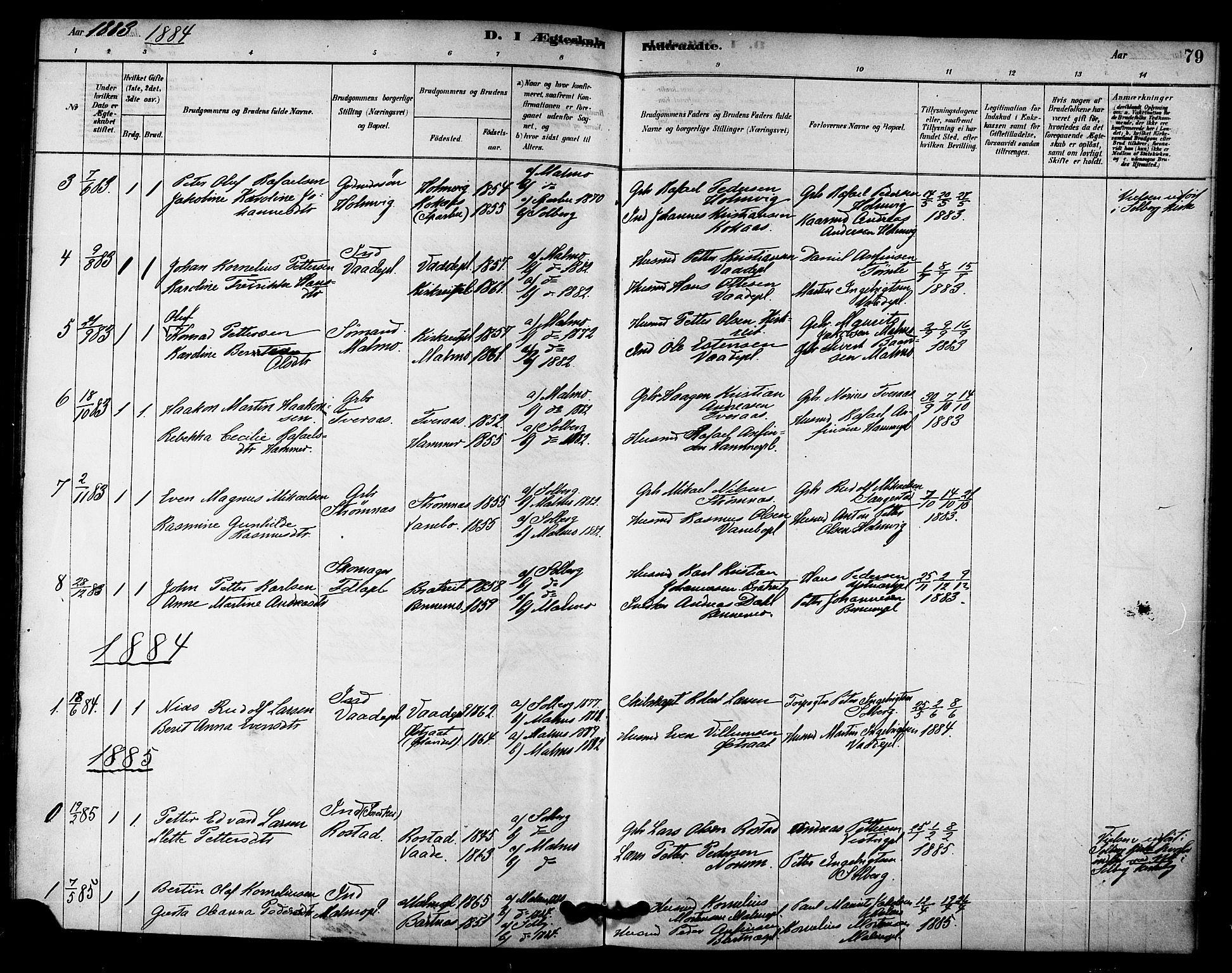 SAT, Ministerialprotokoller, klokkerbøker og fødselsregistre - Nord-Trøndelag, 745/L0429: Ministerialbok nr. 745A01, 1878-1894, s. 79