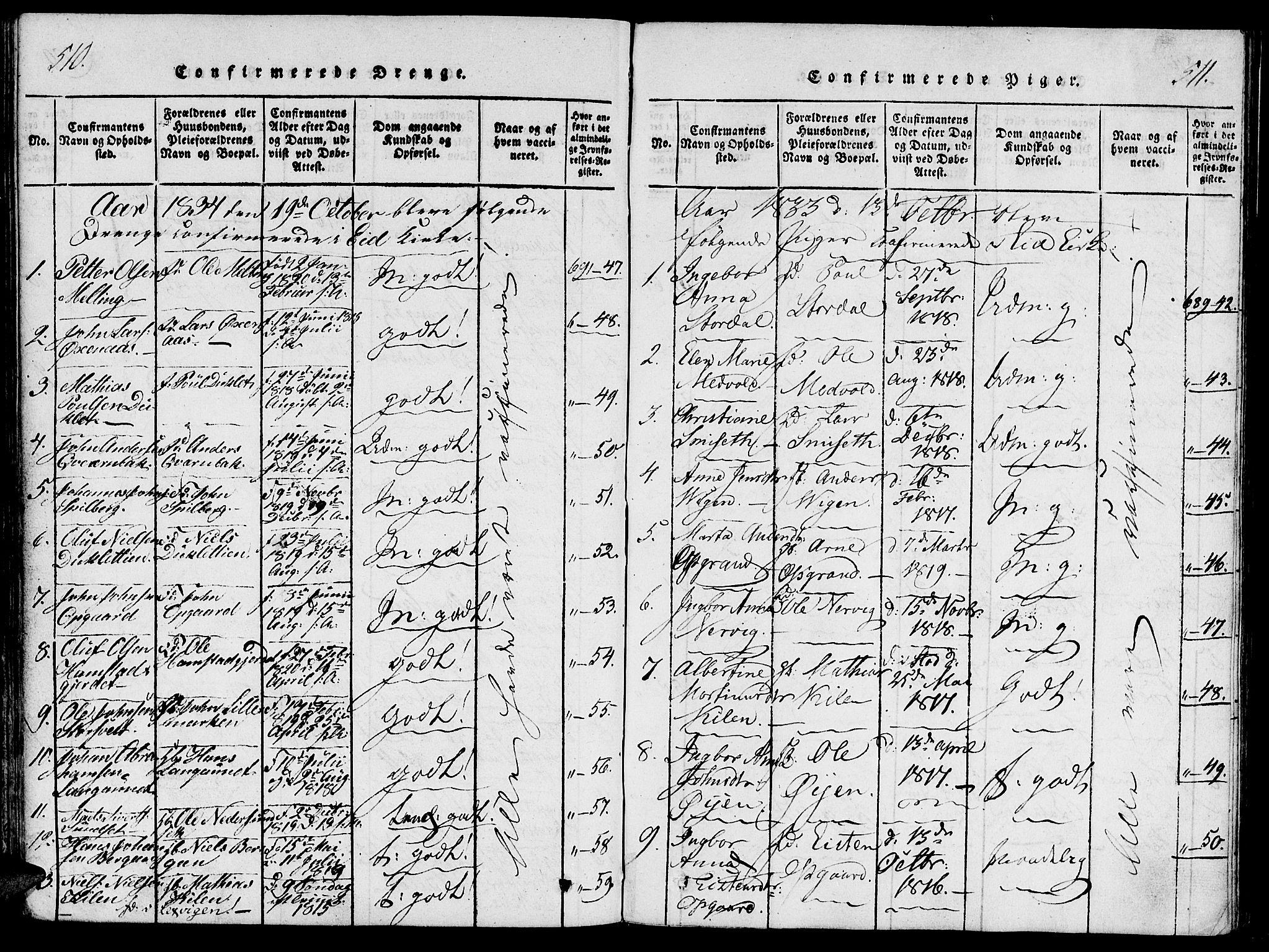 SAT, Ministerialprotokoller, klokkerbøker og fødselsregistre - Nord-Trøndelag, 733/L0322: Ministerialbok nr. 733A01, 1817-1842, s. 510-511