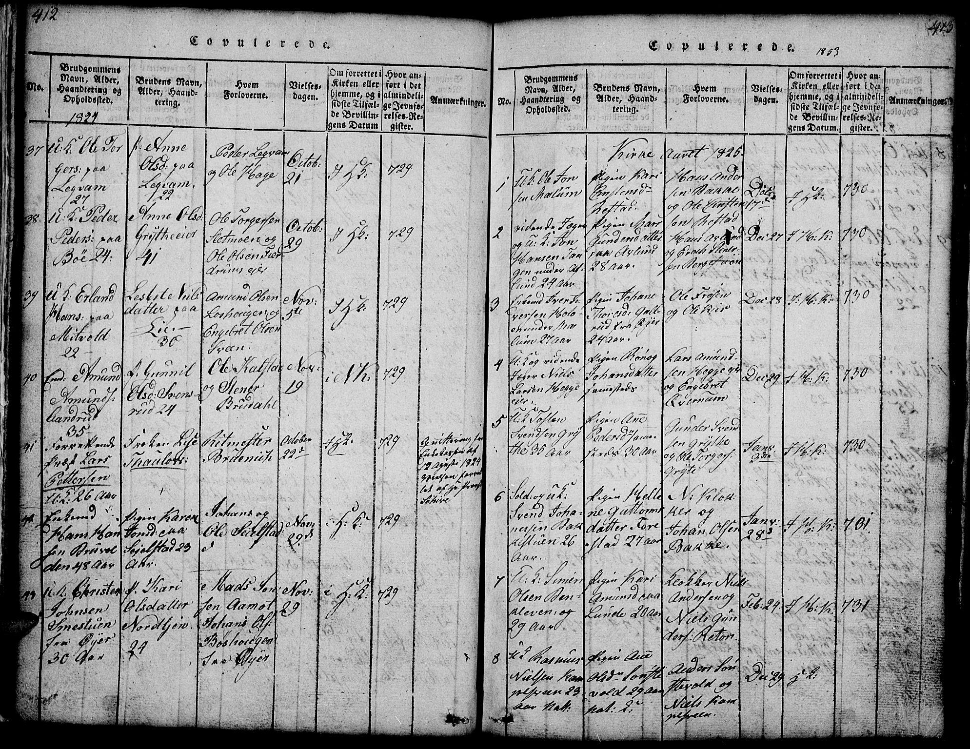 SAH, Gausdal prestekontor, Klokkerbok nr. 1, 1817-1848, s. 412-413