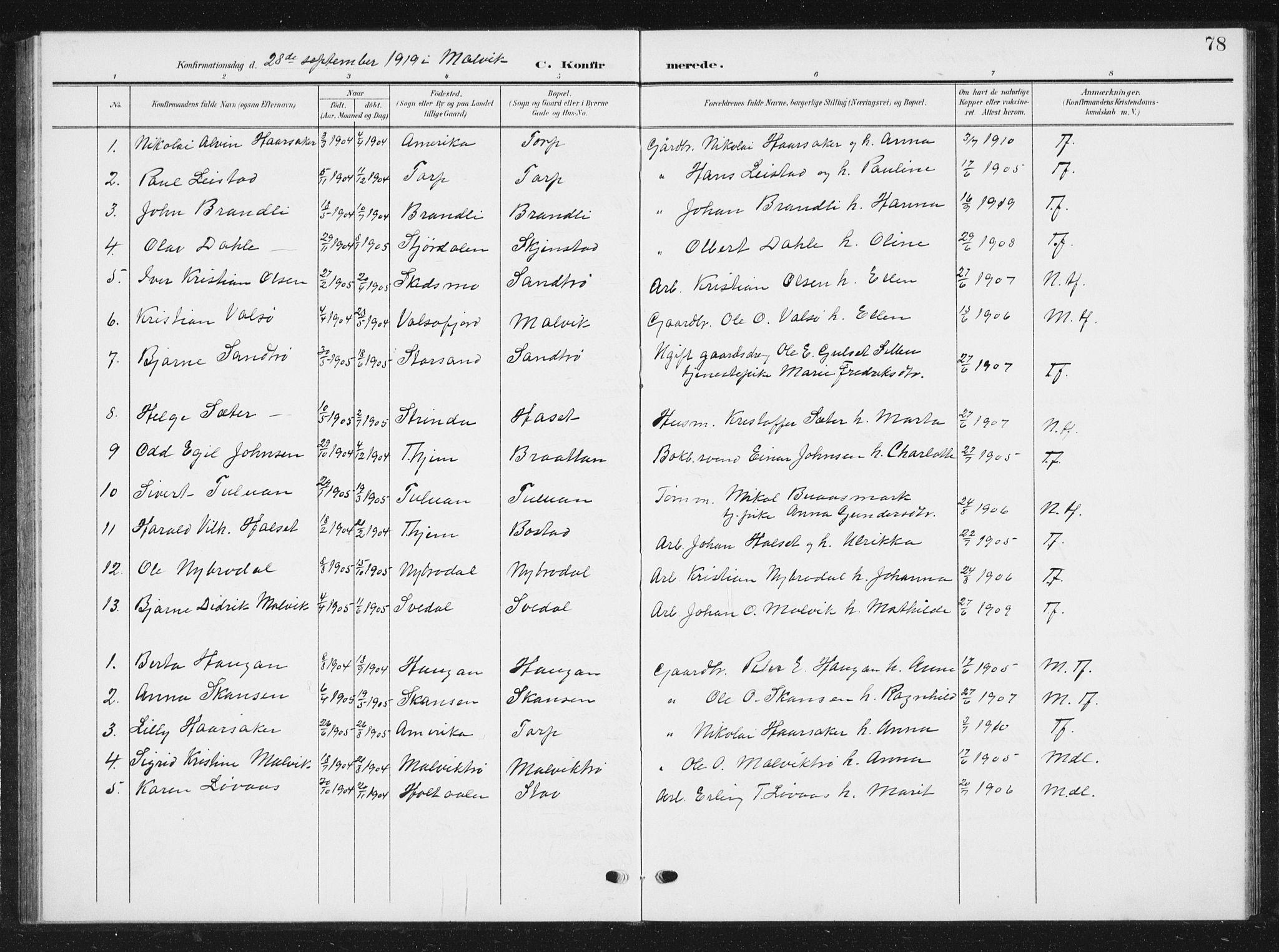SAT, Ministerialprotokoller, klokkerbøker og fødselsregistre - Sør-Trøndelag, 616/L0424: Klokkerbok nr. 616C07, 1904-1940, s. 78