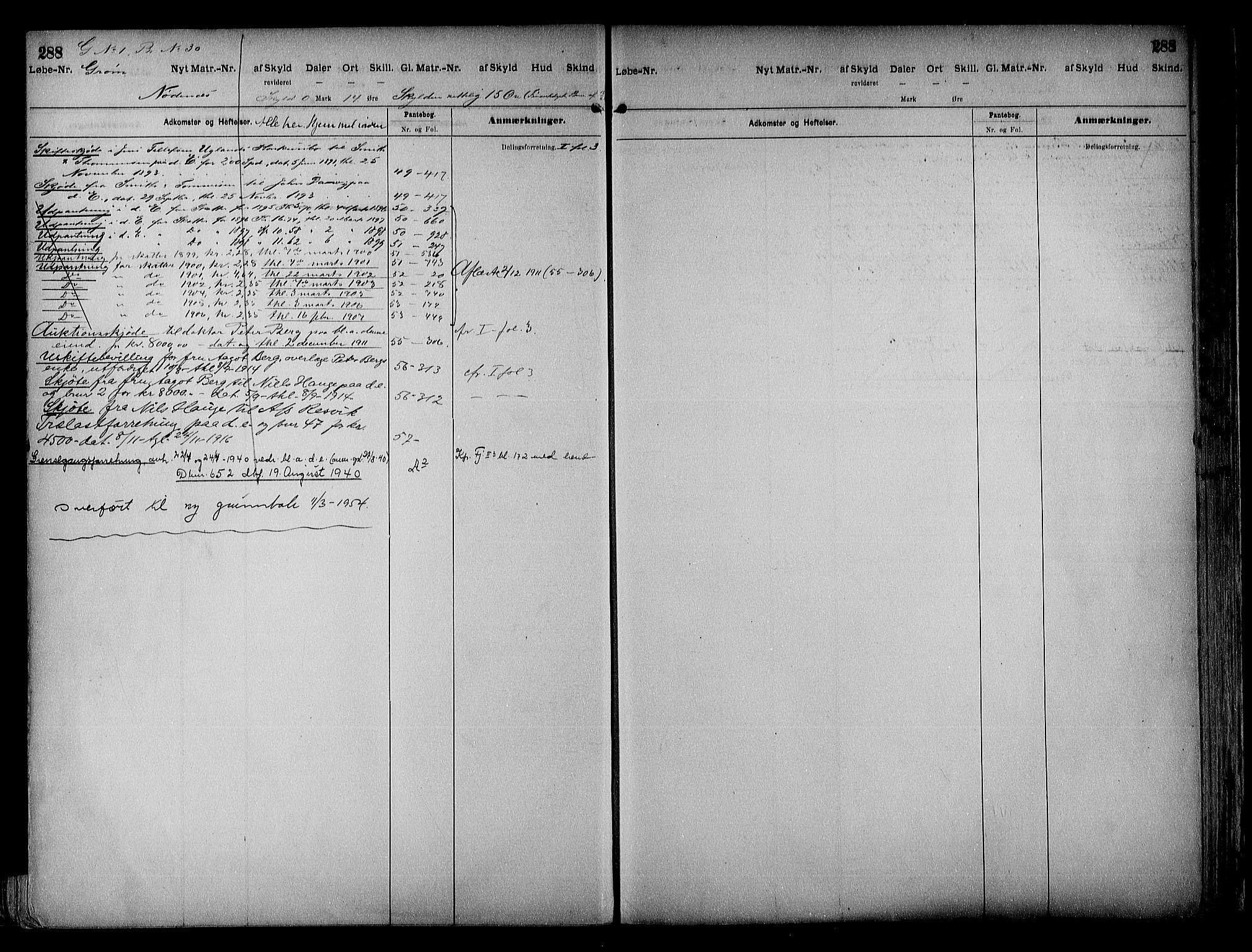 SAK, Vestre Nedenes/Sand sorenskriveri, G/Ga/L0018: Panteregister nr. 13b, 1872-1956, s. 288