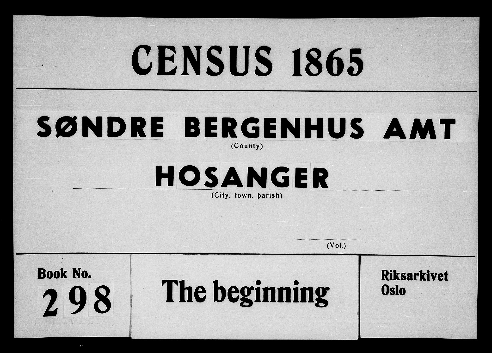 RA, Folketelling 1865 for 1253P Hosanger prestegjeld, 1865, s. 1