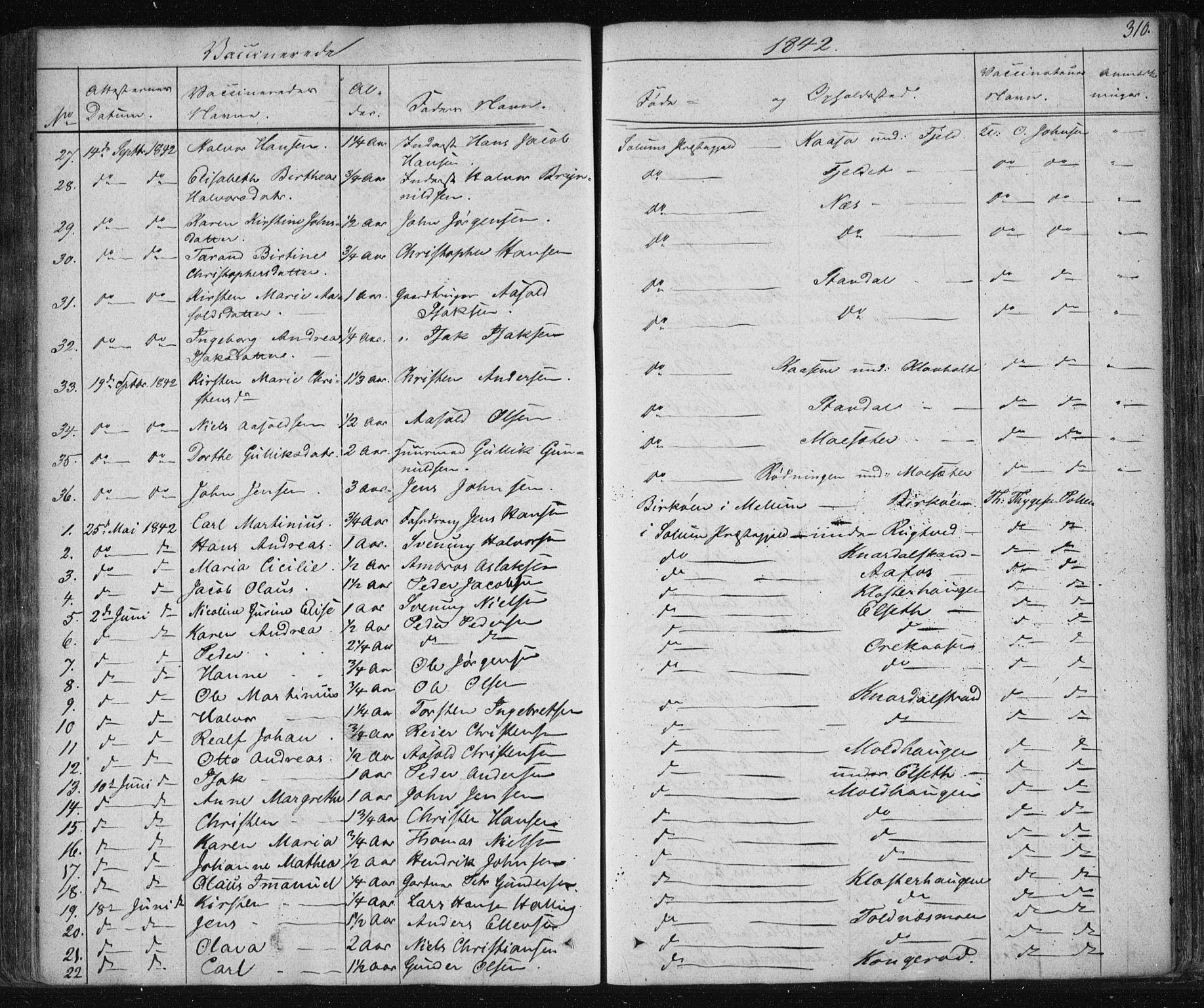 SAKO, Solum kirkebøker, F/Fa/L0005: Ministerialbok nr. I 5, 1833-1843, s. 310
