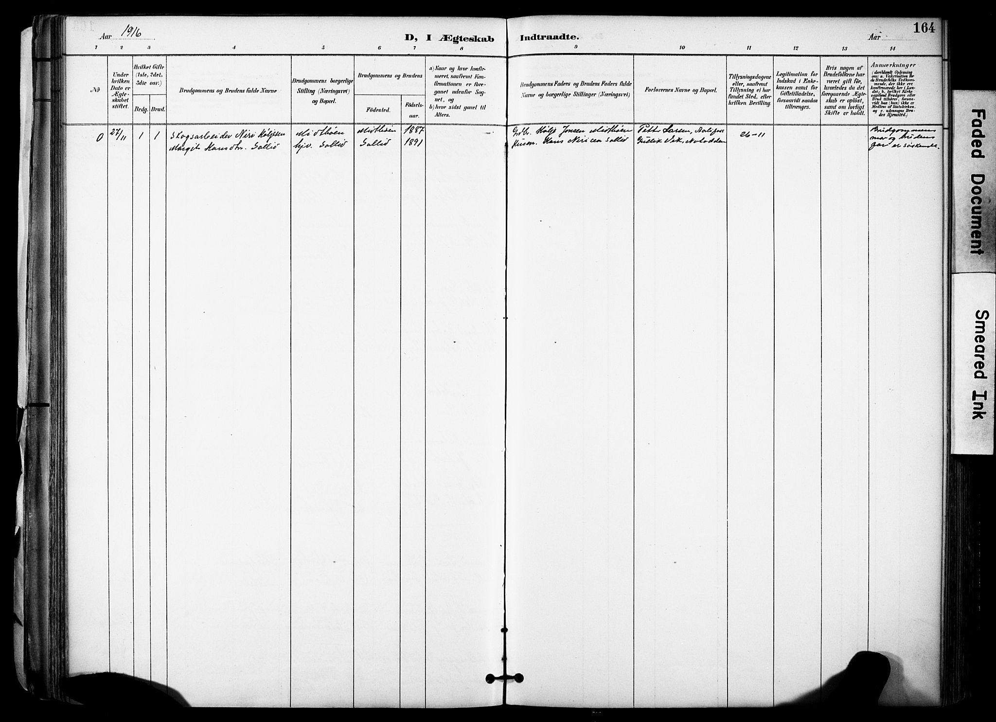 SAKO, Gransherad kirkebøker, F/Fa/L0005: Ministerialbok nr. I 5, 1887-1916, s. 164