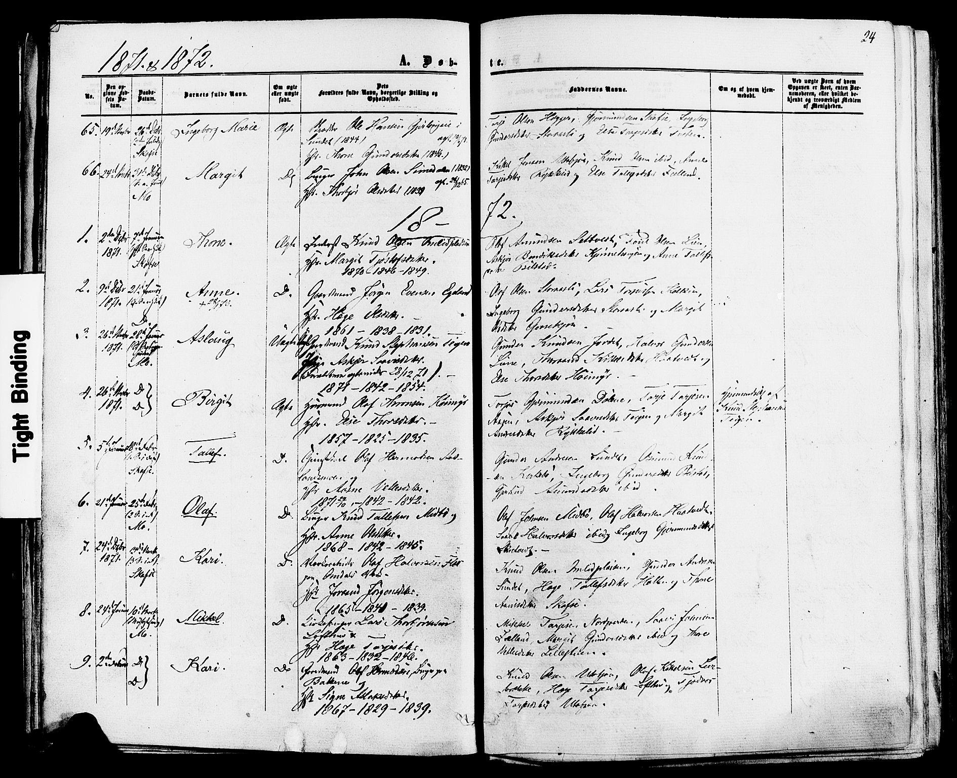 SAKO, Mo kirkebøker, F/Fa/L0006: Ministerialbok nr. I 6, 1865-1885, s. 24
