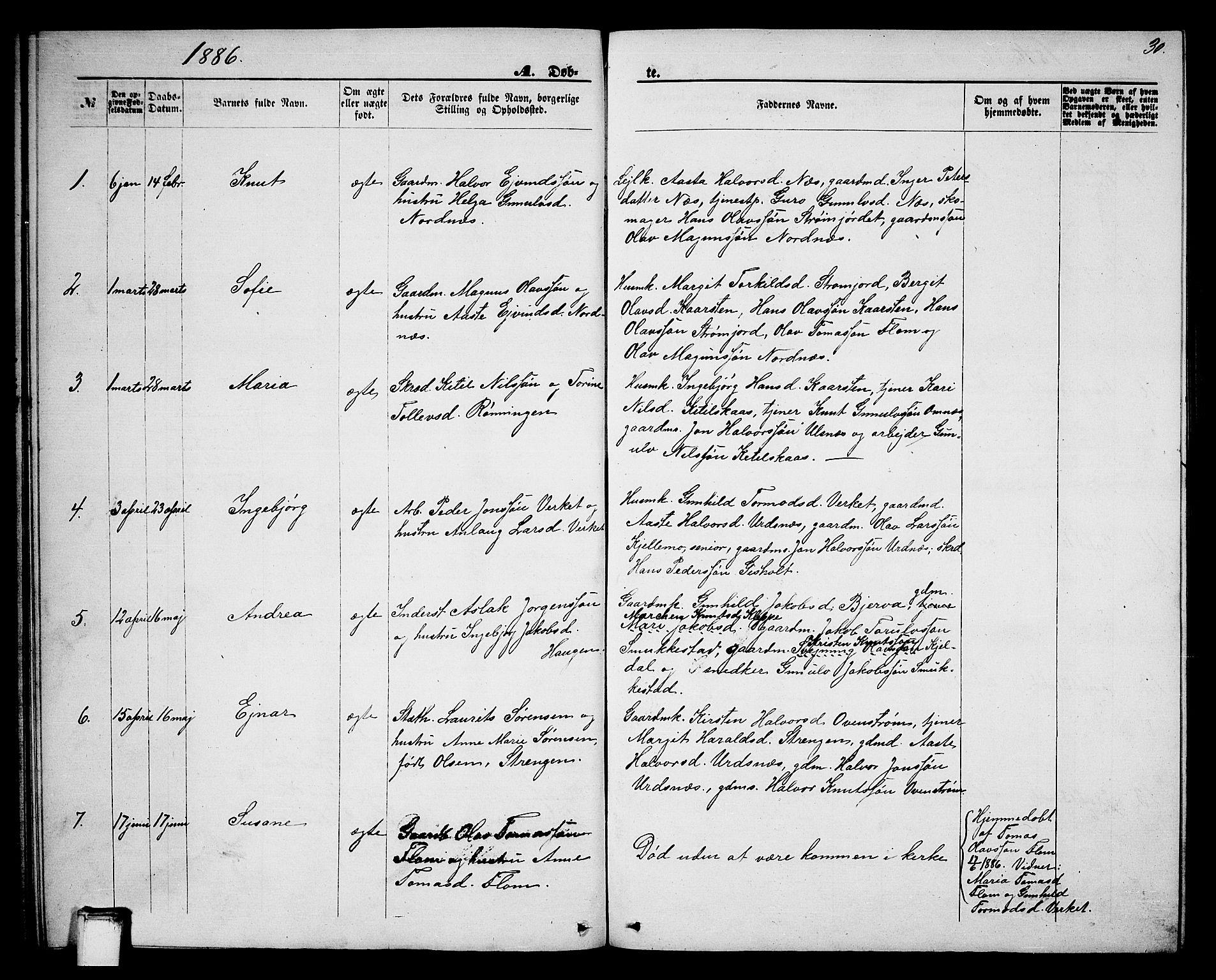 SAKO, Lunde kirkebøker, G/Gb/L0001: Klokkerbok nr. II 1, 1866-1887, s. 30