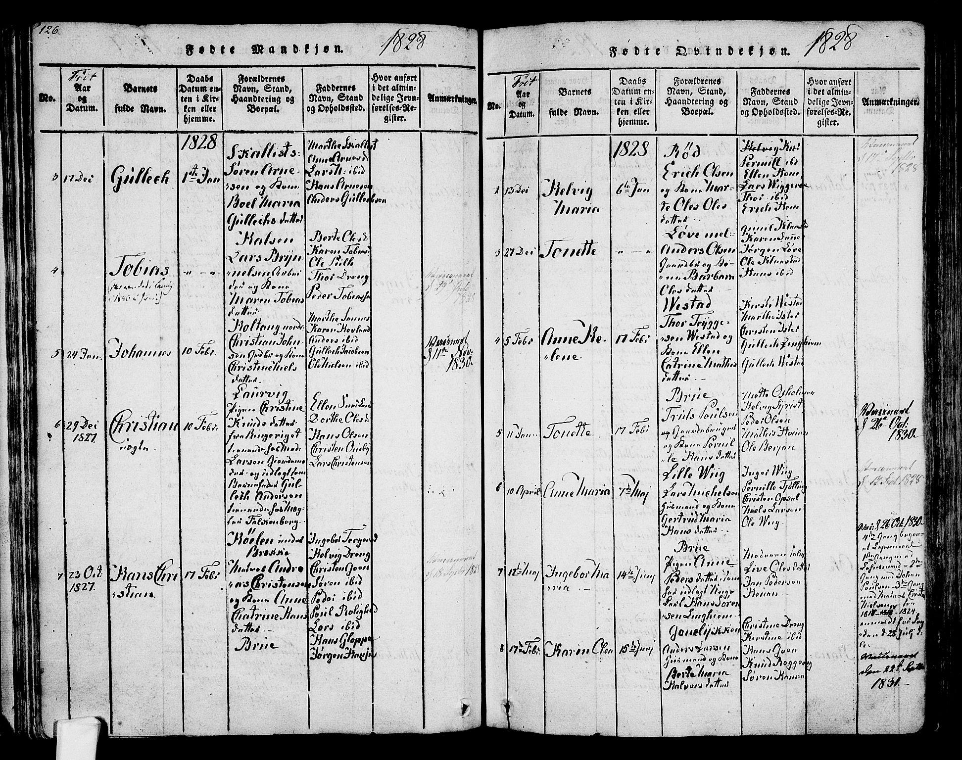 SAKO, Tjølling kirkebøker, F/Fa/L0005: Ministerialbok nr. 5, 1814-1836, s. 126-127