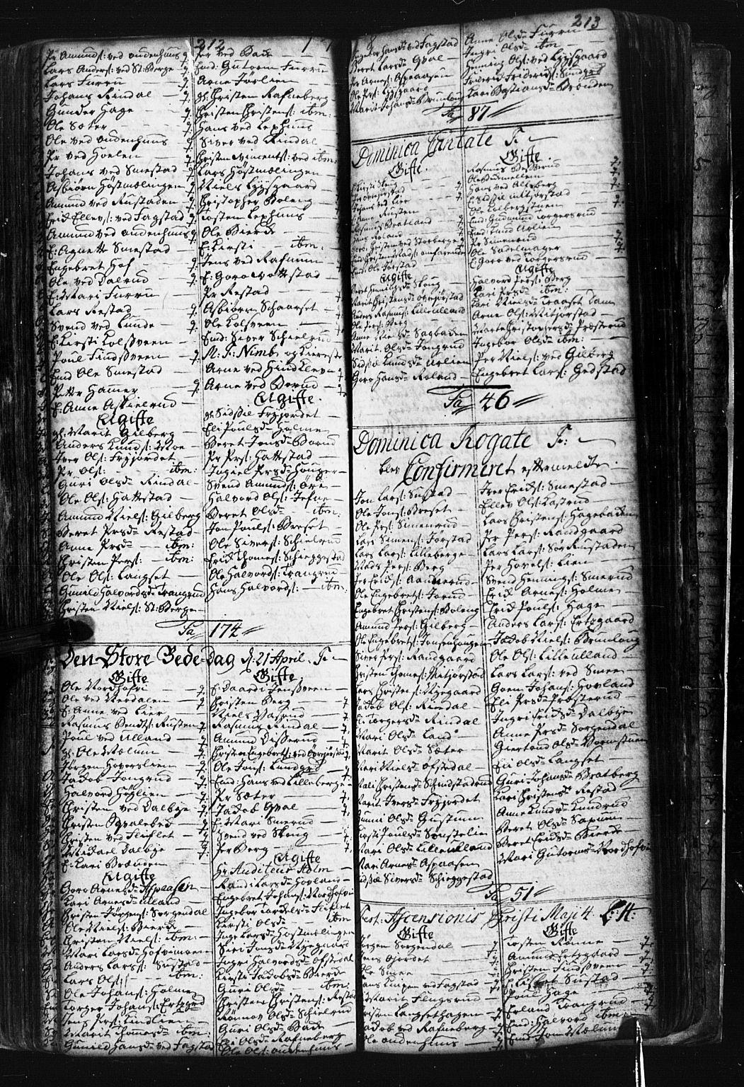 SAH, Fåberg prestekontor, Klokkerbok nr. 1, 1727-1767, s. 212-213