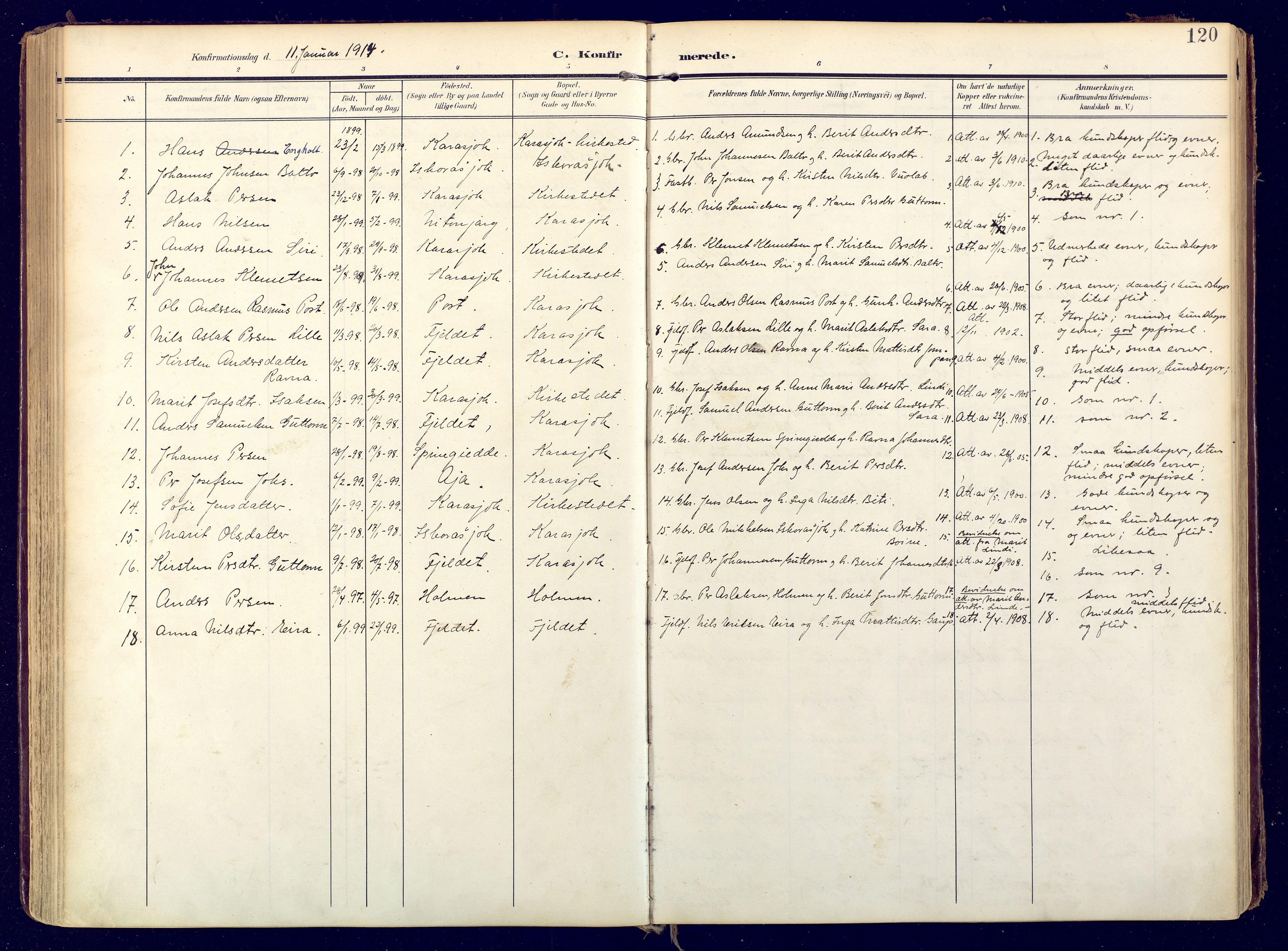 SATØ, Karasjok sokneprestkontor, H/Ha: Ministerialbok nr. 3, 1907-1926, s. 120