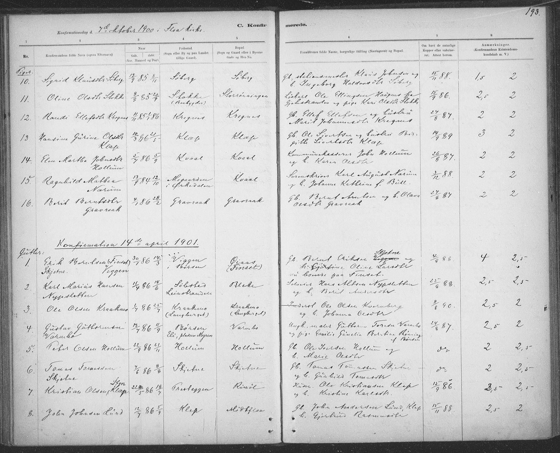 SAT, Ministerialprotokoller, klokkerbøker og fødselsregistre - Sør-Trøndelag, 691/L1085: Ministerialbok nr. 691A17, 1887-1908, s. 193