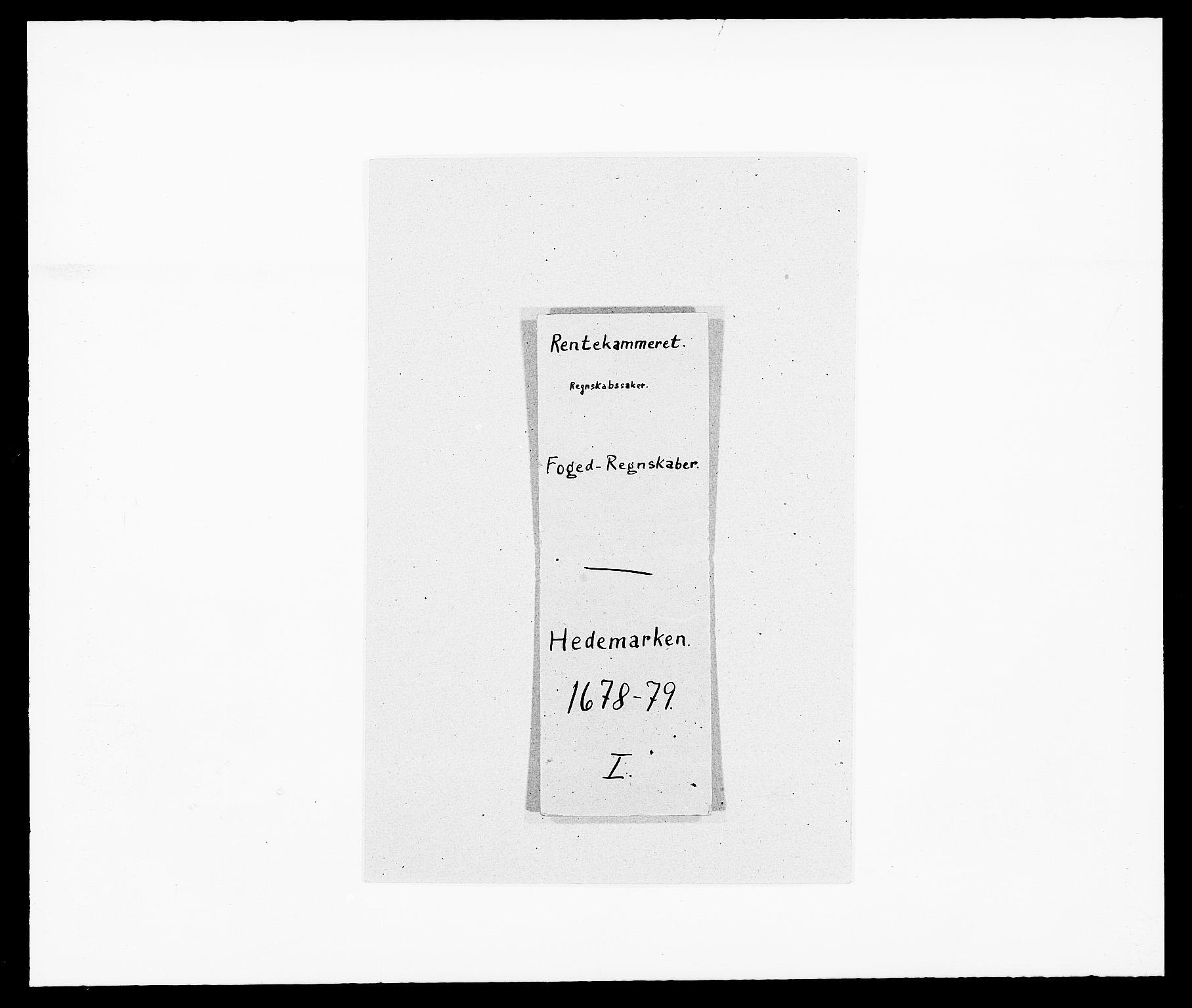 RA, Rentekammeret inntil 1814, Reviderte regnskaper, Fogderegnskap, R16/L1017: Fogderegnskap Hedmark, 1678-1679, s. 1