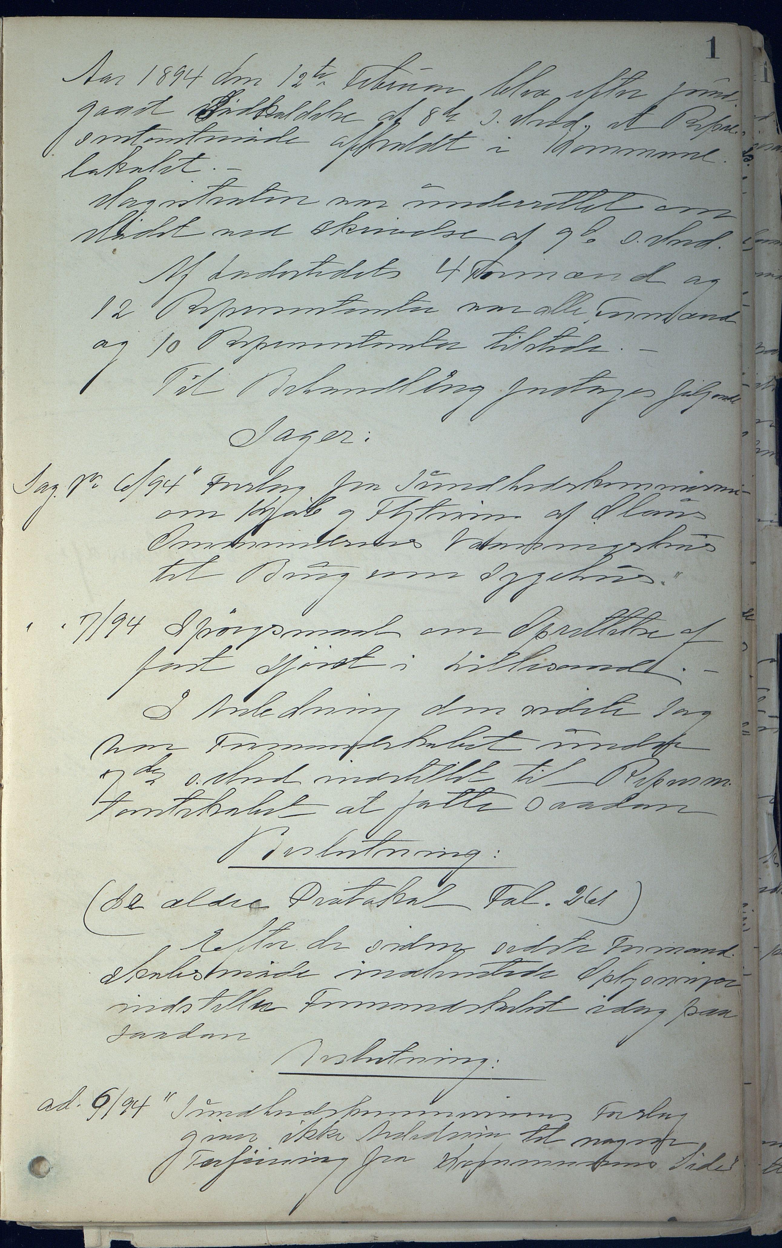 AAKS, Lillesand kommune, 01/L0004: Formannskapets møtebok, 1894-1906, s. 1