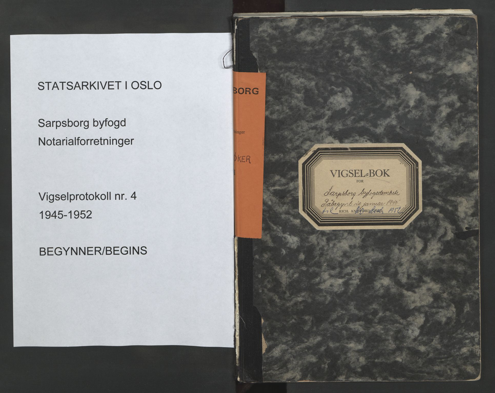 SAO, Sarpsborg byfogd, L/Lb/Lba/L0004: Vigselbok, 1945-1952, s. upaginert
