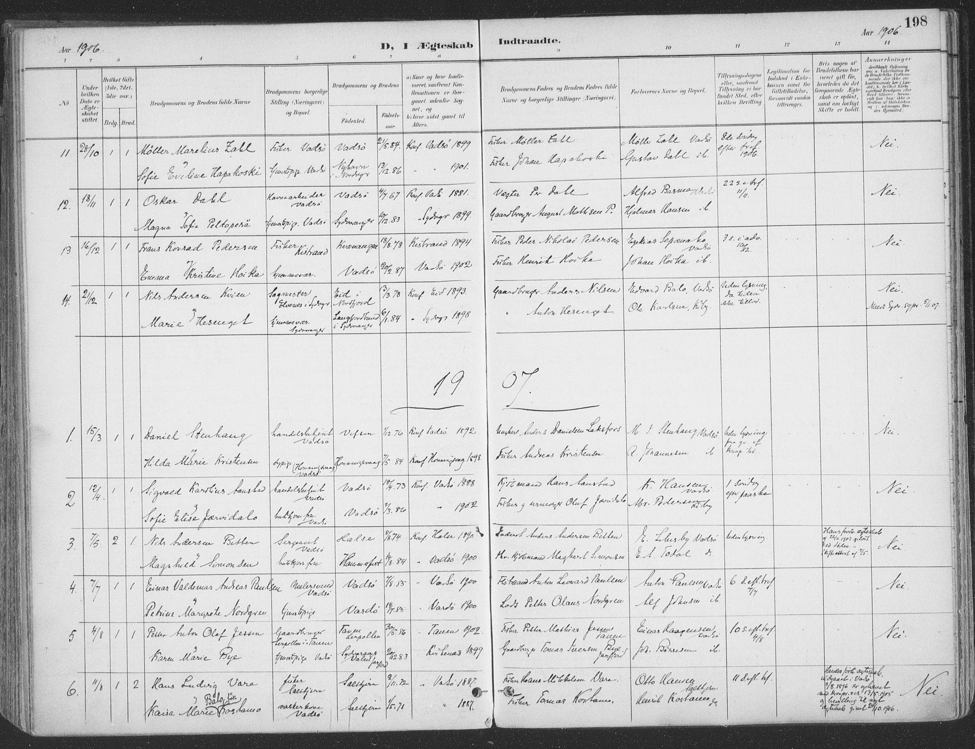 SATØ, Vadsø sokneprestkontor, H/Ha/L0007kirke: Ministerialbok nr. 7, 1896-1916, s. 198