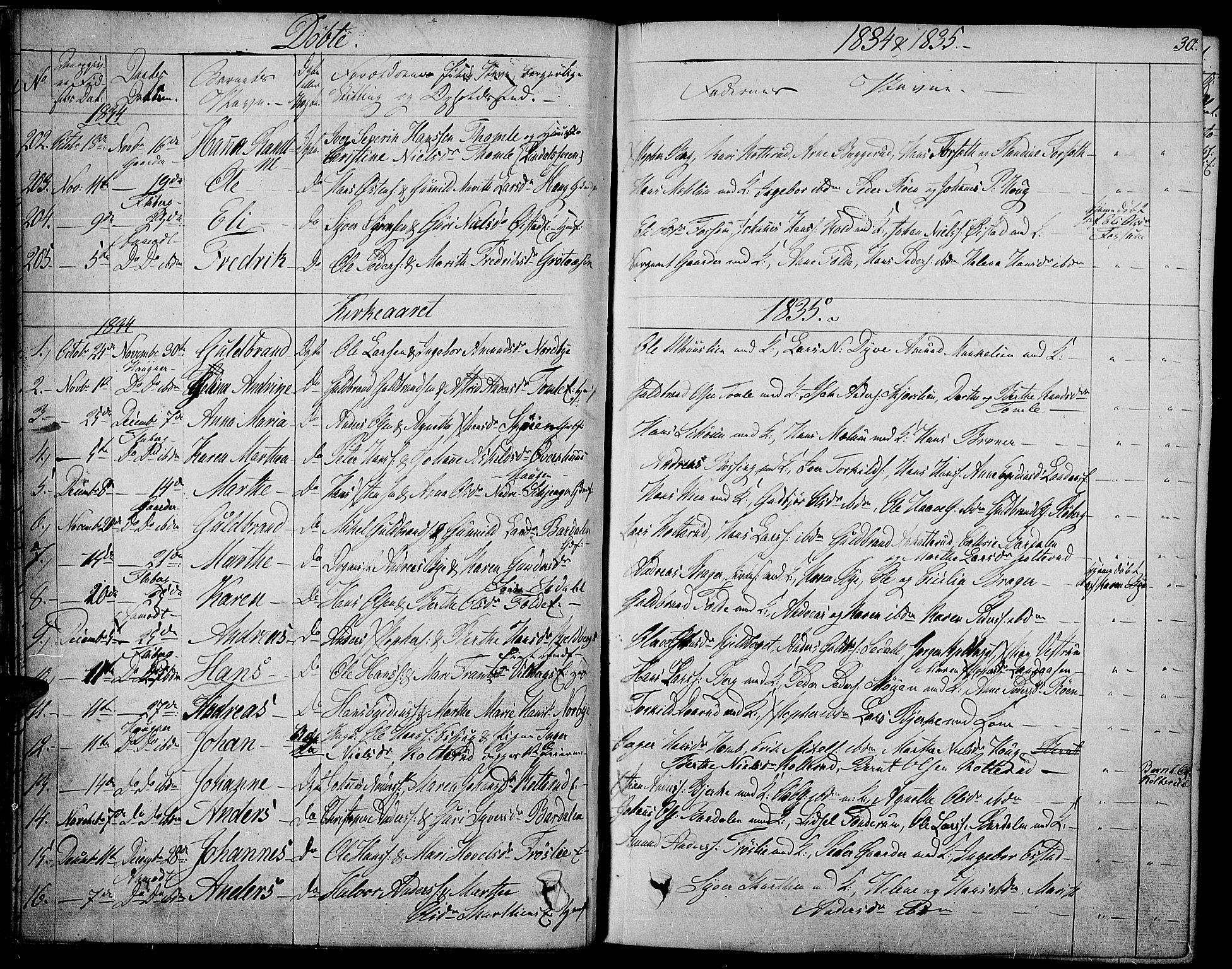 SAH, Land prestekontor, Ministerialbok nr. 8, 1830-1846, s. 30