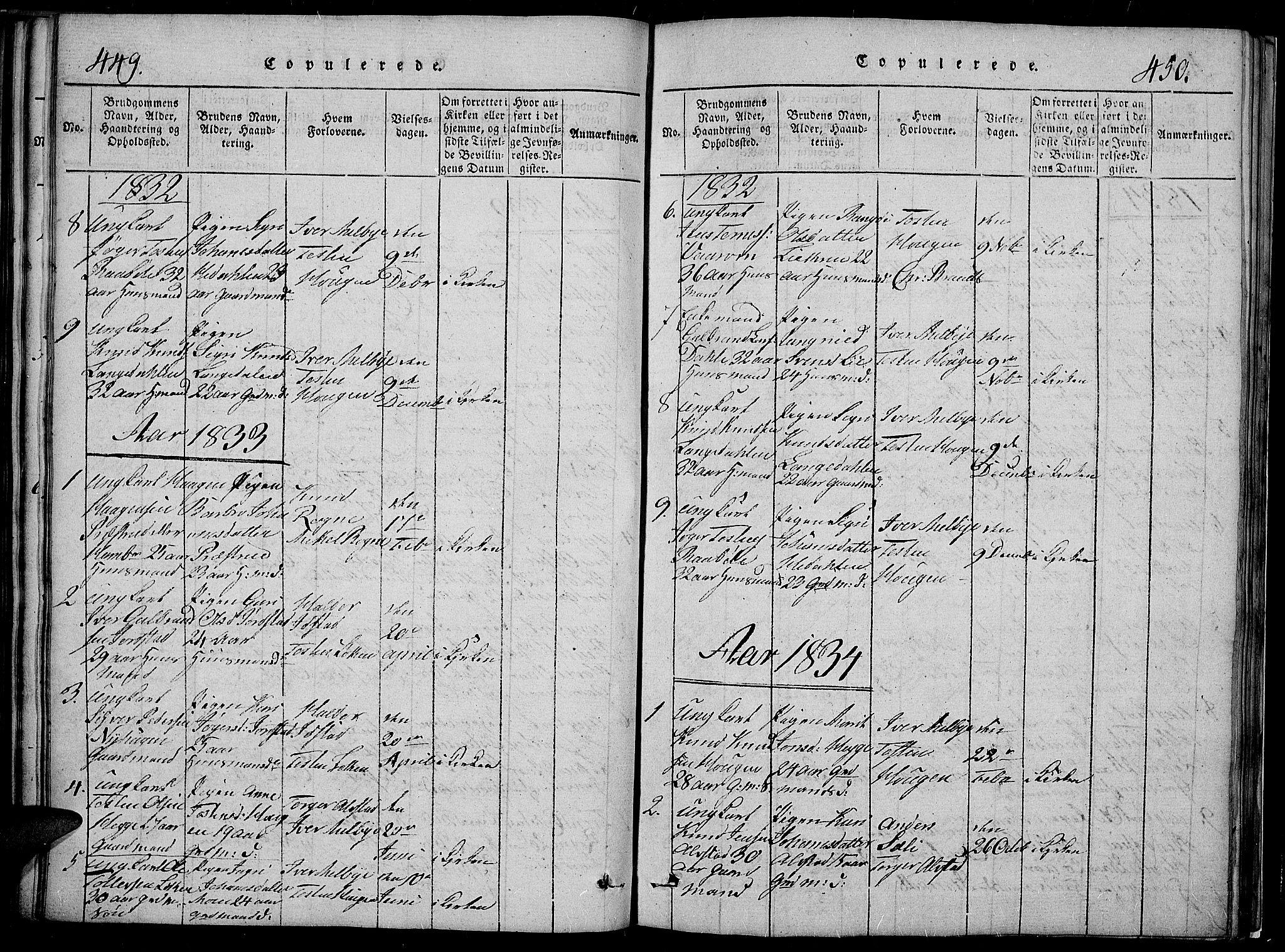 SAH, Slidre prestekontor, Klokkerbok nr. 2, 1814-1839, s. 449-450