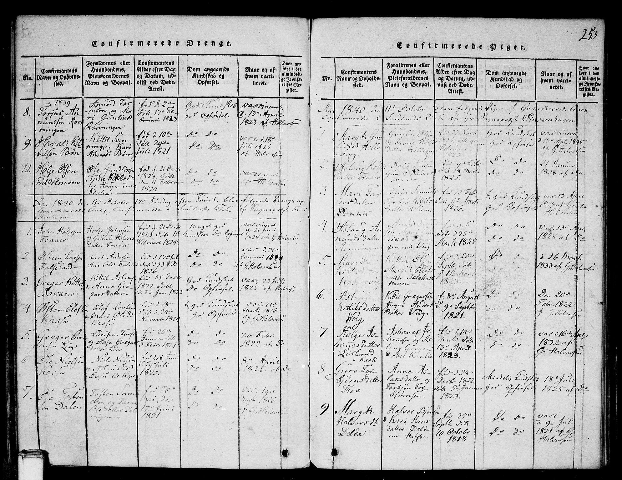 SAKO, Gransherad kirkebøker, G/Ga/L0001: Klokkerbok nr. I 1, 1815-1842, s. 253