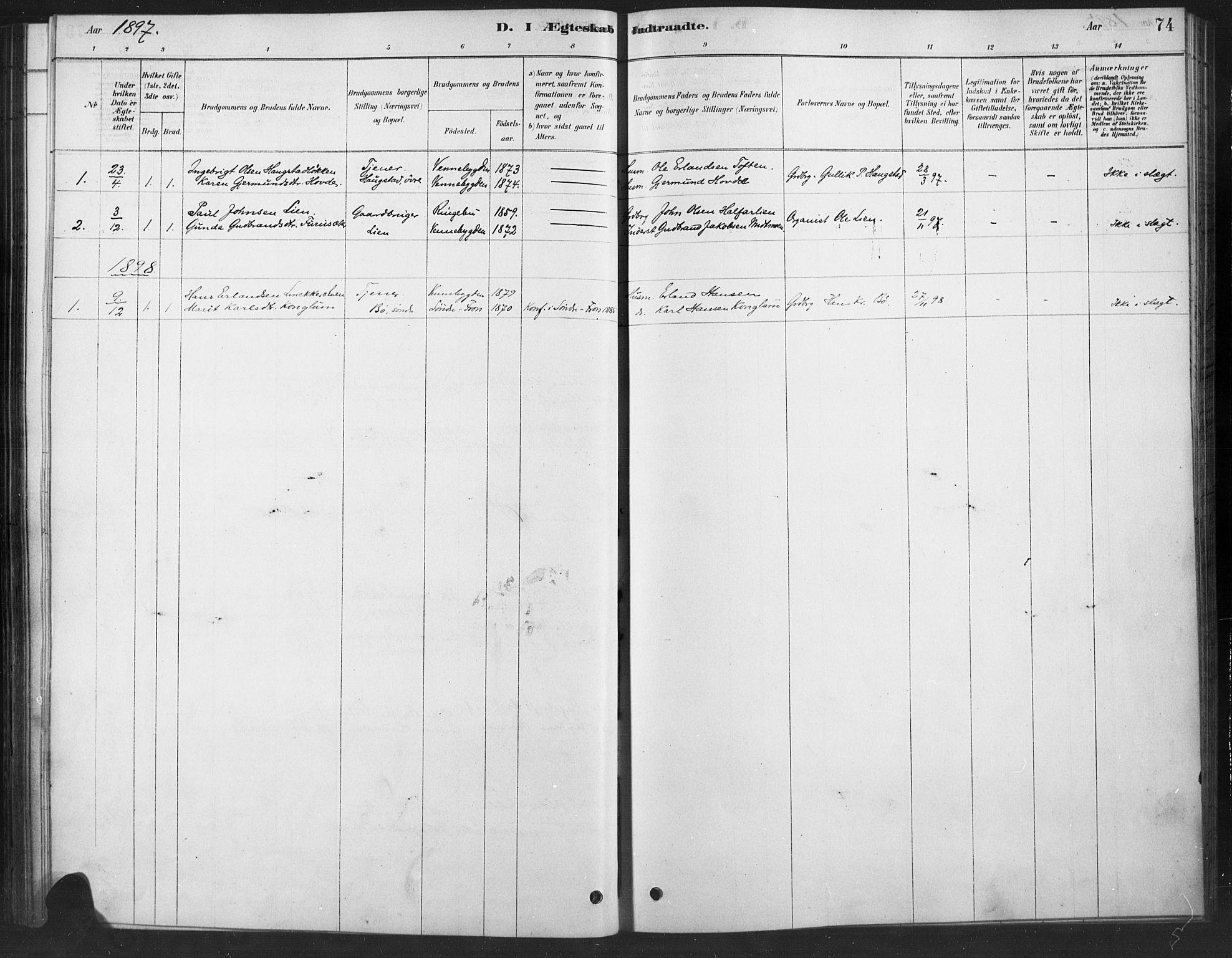 SAH, Ringebu prestekontor, Ministerialbok nr. 10, 1878-1898, s. 74