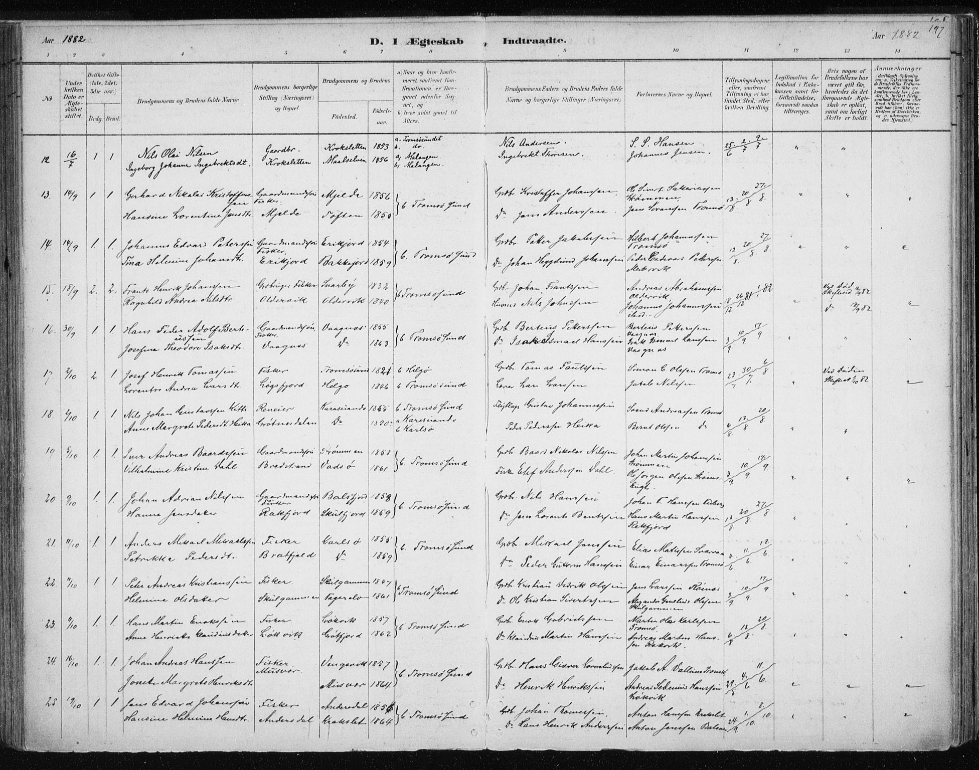 SATØ, Tromsøysund sokneprestkontor, G/Ga/L0004kirke: Ministerialbok nr. 4, 1880-1888, s. 197