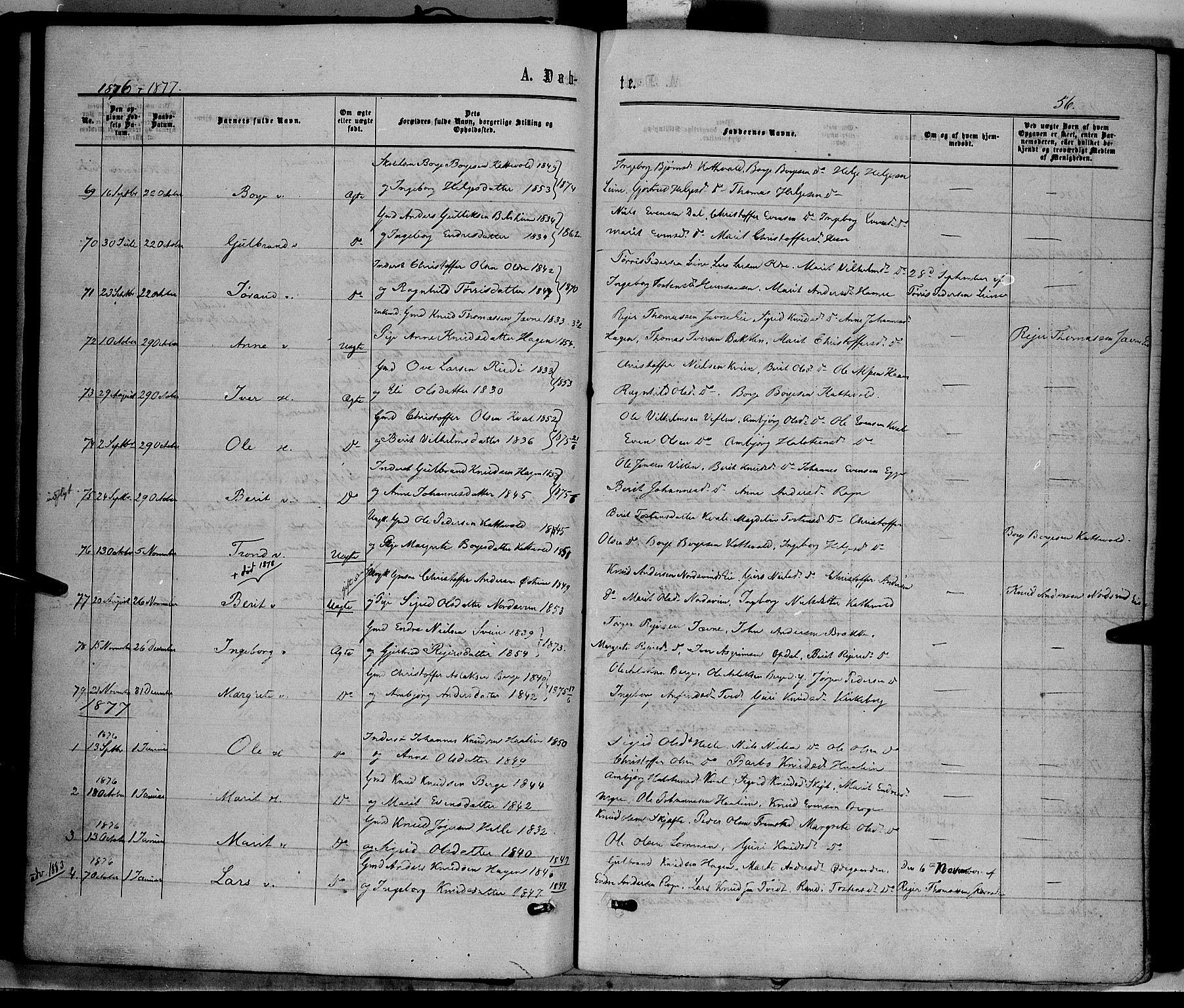 SAH, Vang prestekontor, Valdres, Ministerialbok nr. 7, 1865-1881, s. 56