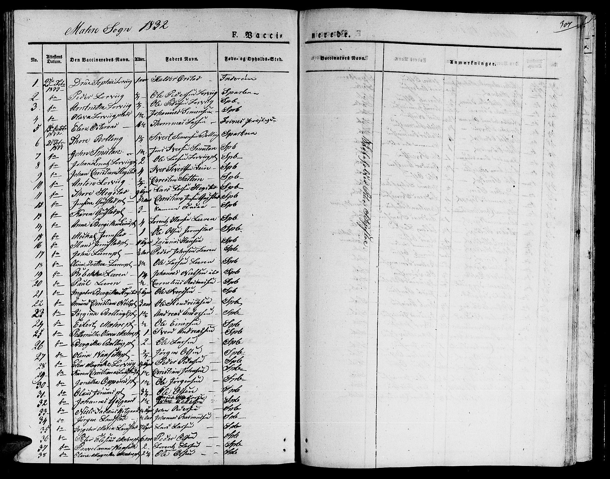 SAT, Ministerialprotokoller, klokkerbøker og fødselsregistre - Nord-Trøndelag, 735/L0336: Ministerialbok nr. 735A05 /1, 1825-1835, s. 307