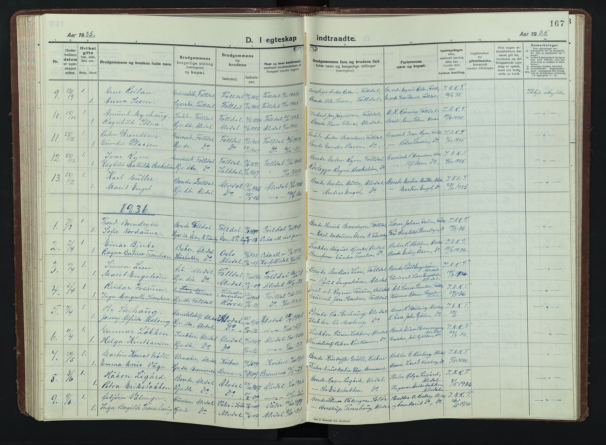 SAH, Alvdal prestekontor, Klokkerbok nr. 7, 1924-1945, s. 167