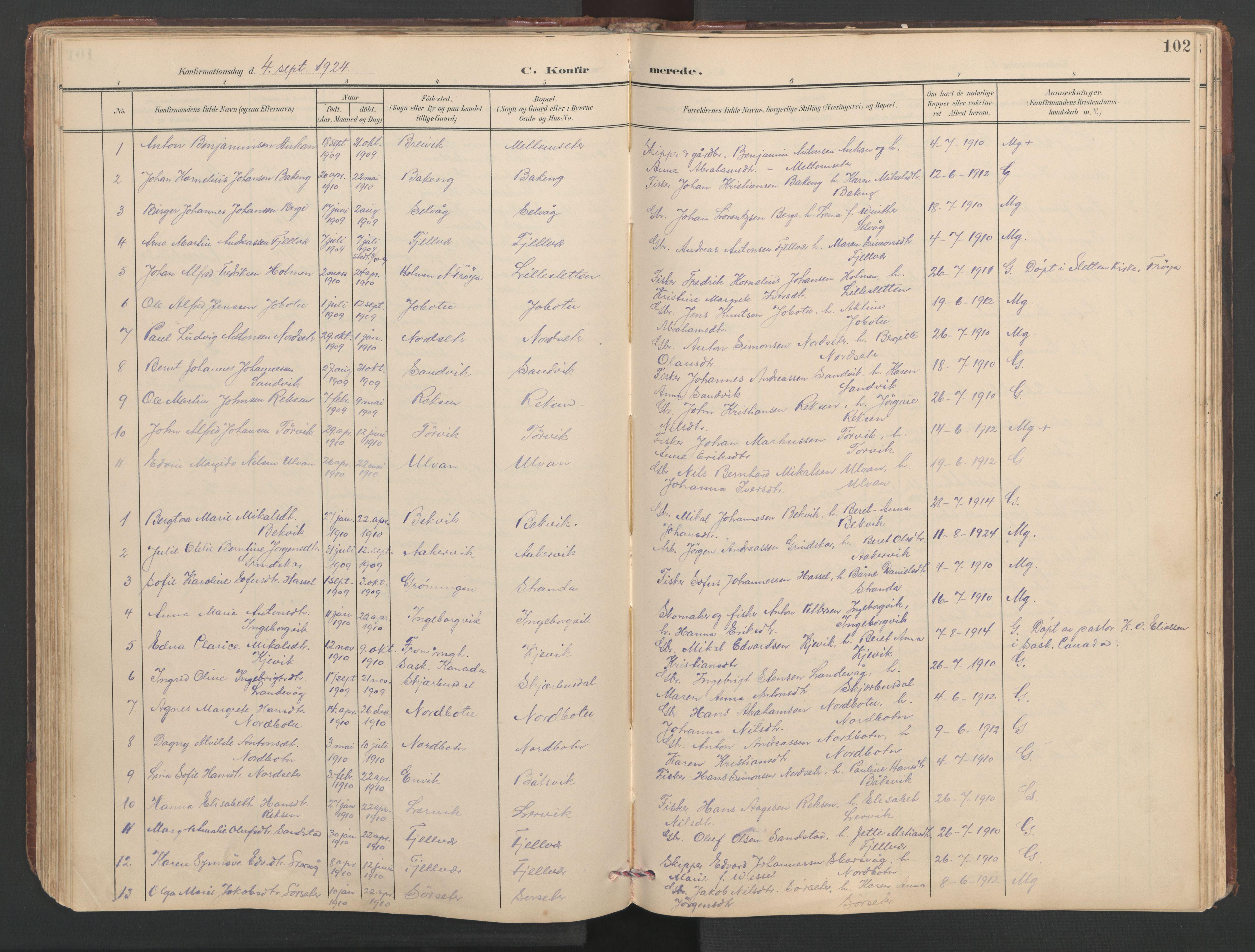SAT, Ministerialprotokoller, klokkerbøker og fødselsregistre - Sør-Trøndelag, 638/L0571: Klokkerbok nr. 638C03, 1901-1930, s. 102