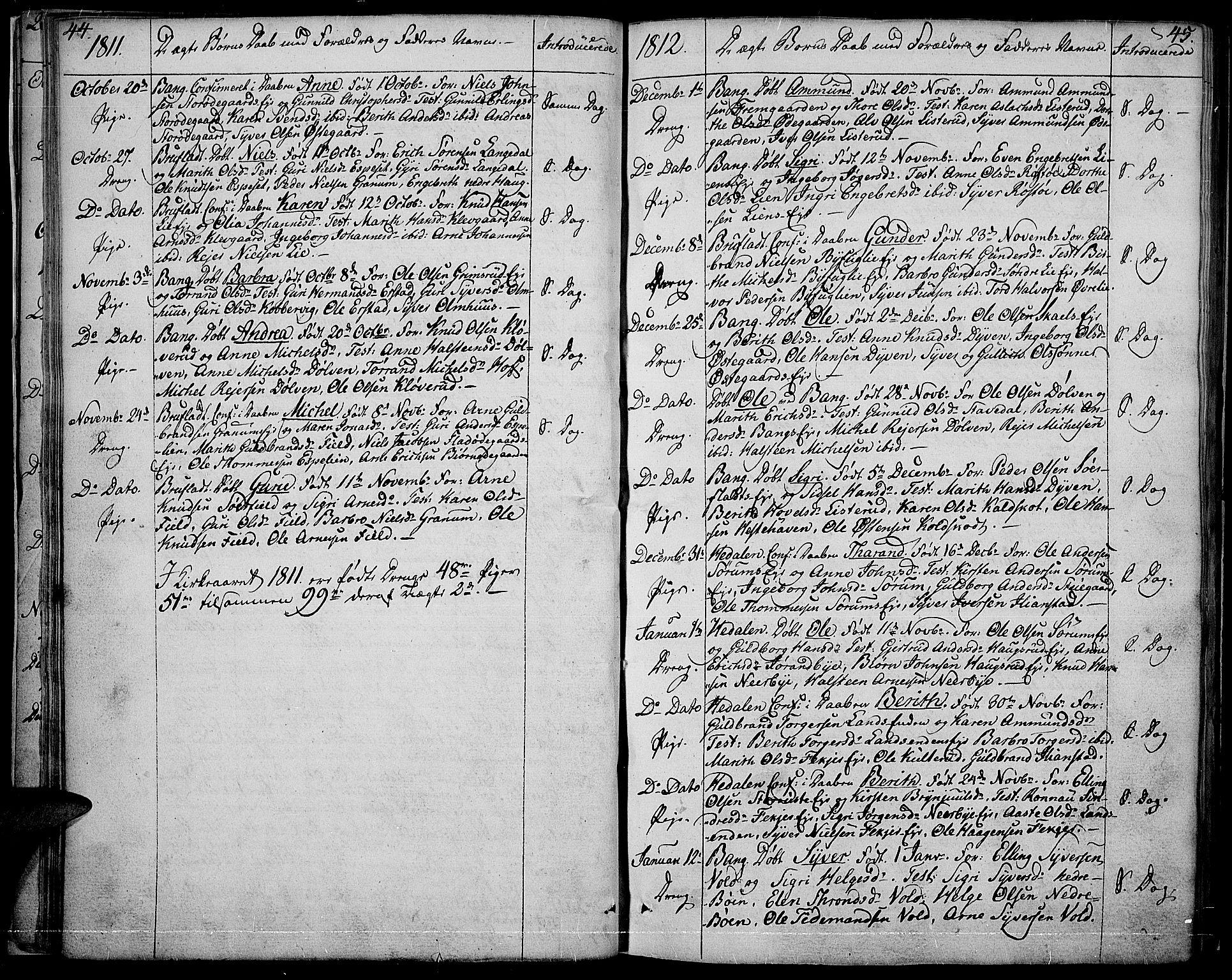 SAH, Sør-Aurdal prestekontor, Ministerialbok nr. 1, 1807-1815, s. 44-45