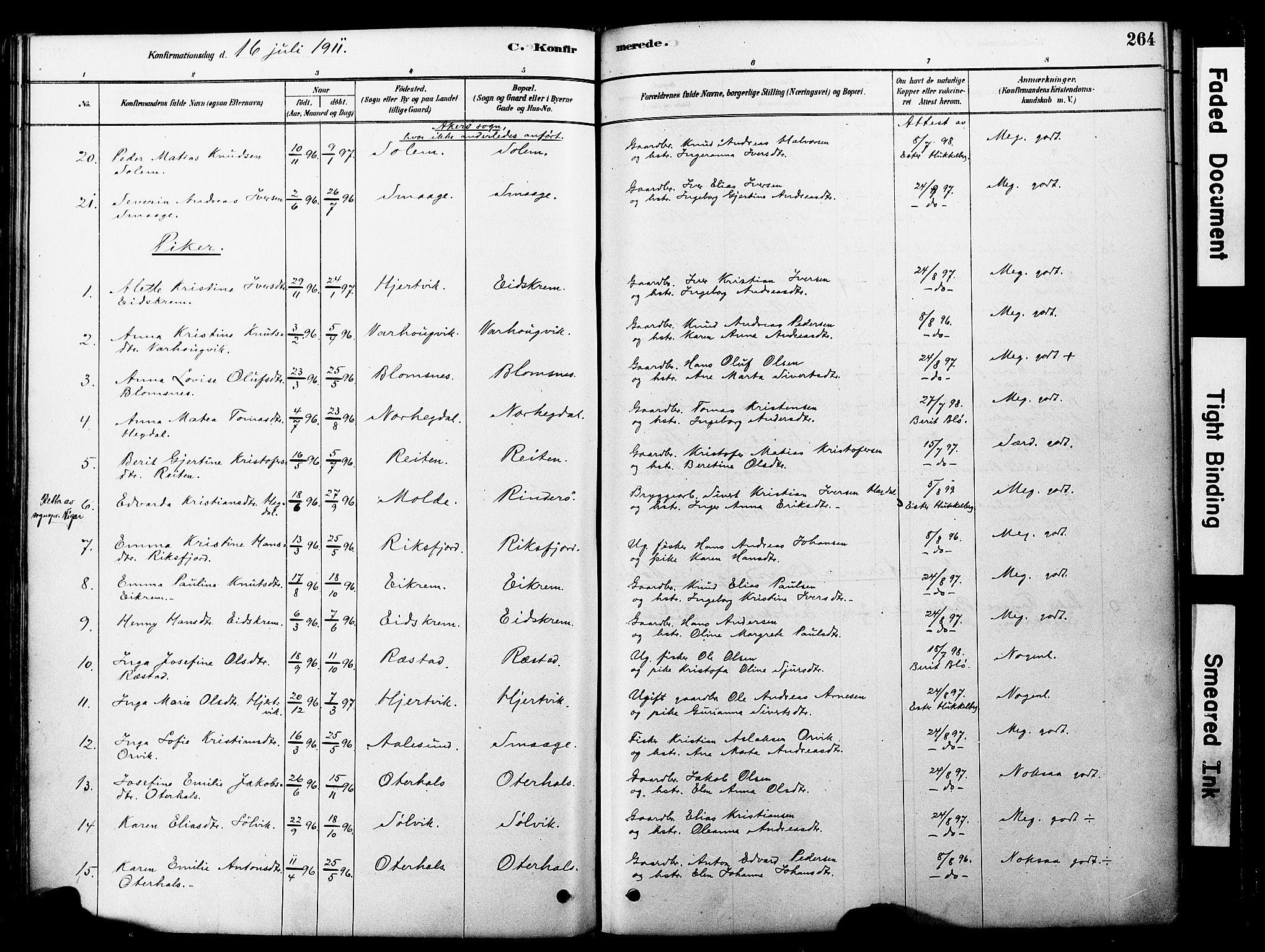 SAT, Ministerialprotokoller, klokkerbøker og fødselsregistre - Møre og Romsdal, 560/L0721: Ministerialbok nr. 560A05, 1878-1917, s. 264