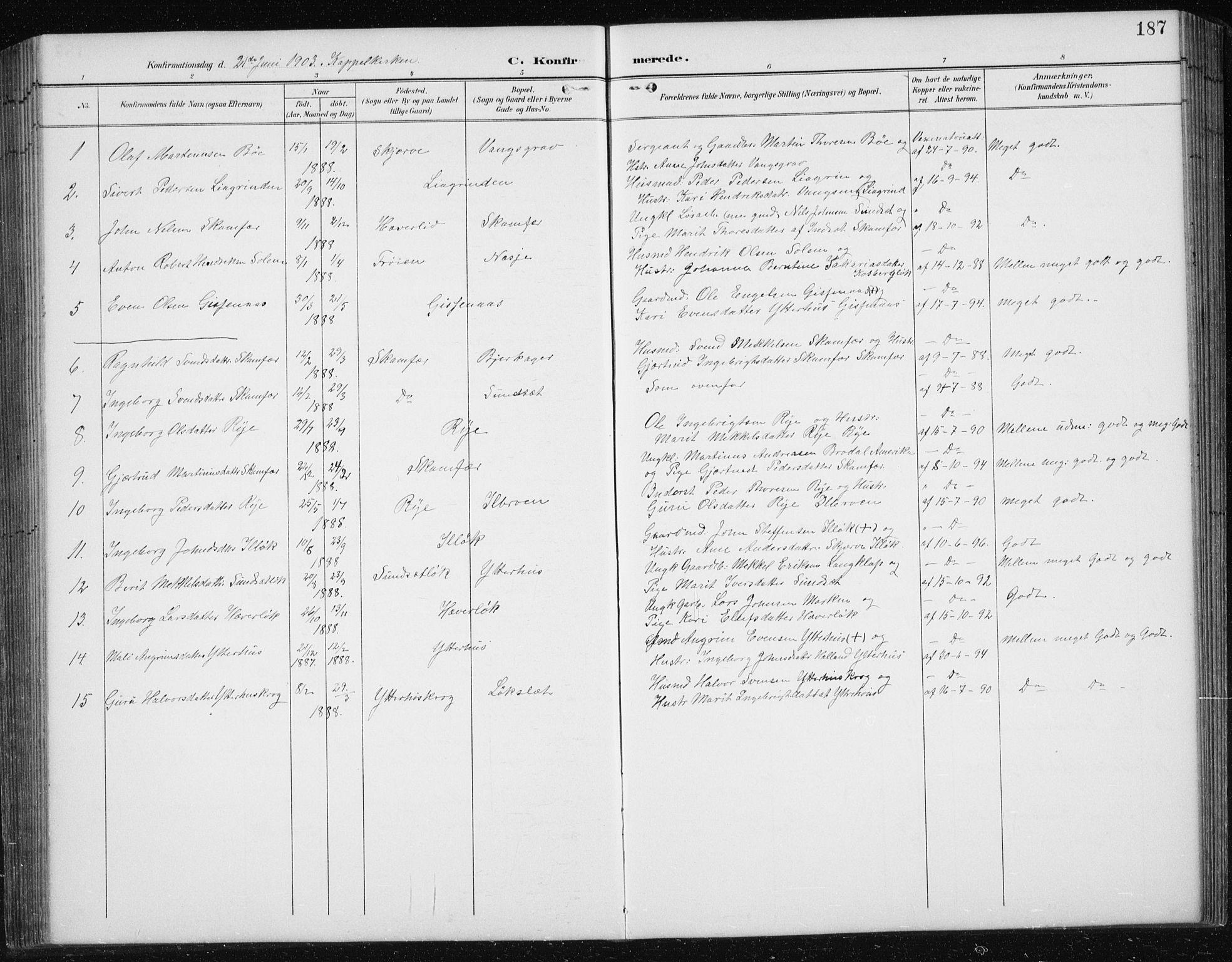 SAT, Ministerialprotokoller, klokkerbøker og fødselsregistre - Sør-Trøndelag, 674/L0876: Klokkerbok nr. 674C03, 1892-1912, s. 187