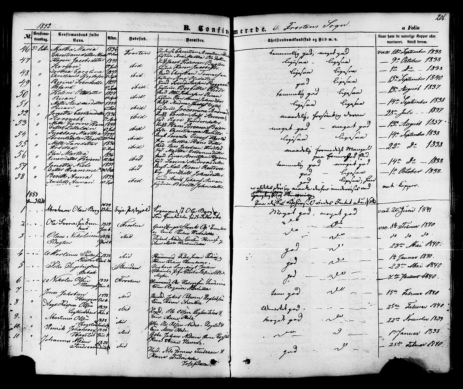 SAT, Ministerialprotokoller, klokkerbøker og fødselsregistre - Nord-Trøndelag, 713/L0116: Ministerialbok nr. 713A07 /1, 1850-1877, s. 206