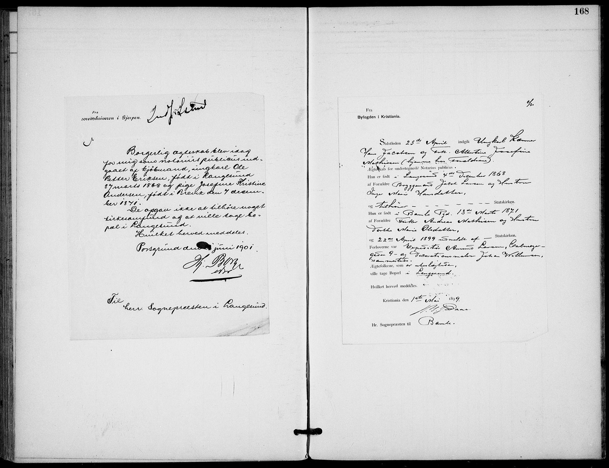 SAKO, Langesund kirkebøker, F/Fa/L0003: Ministerialbok nr. 3, 1893-1907, s. 168