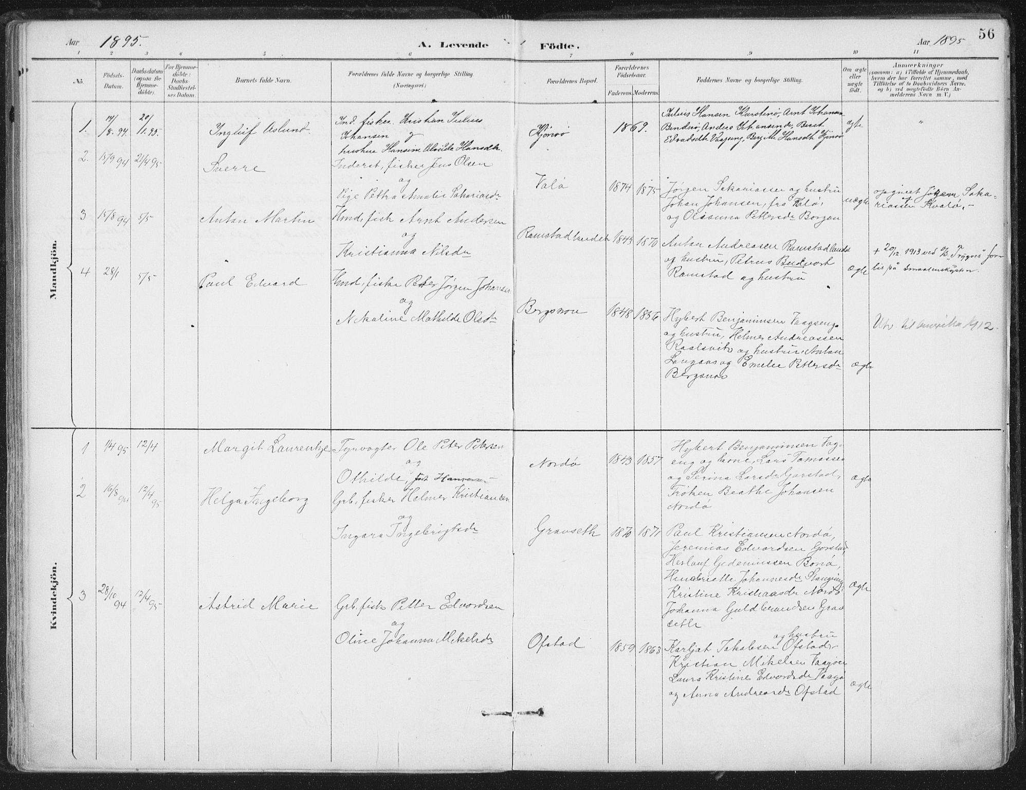 SAT, Ministerialprotokoller, klokkerbøker og fødselsregistre - Nord-Trøndelag, 786/L0687: Ministerialbok nr. 786A03, 1888-1898, s. 56