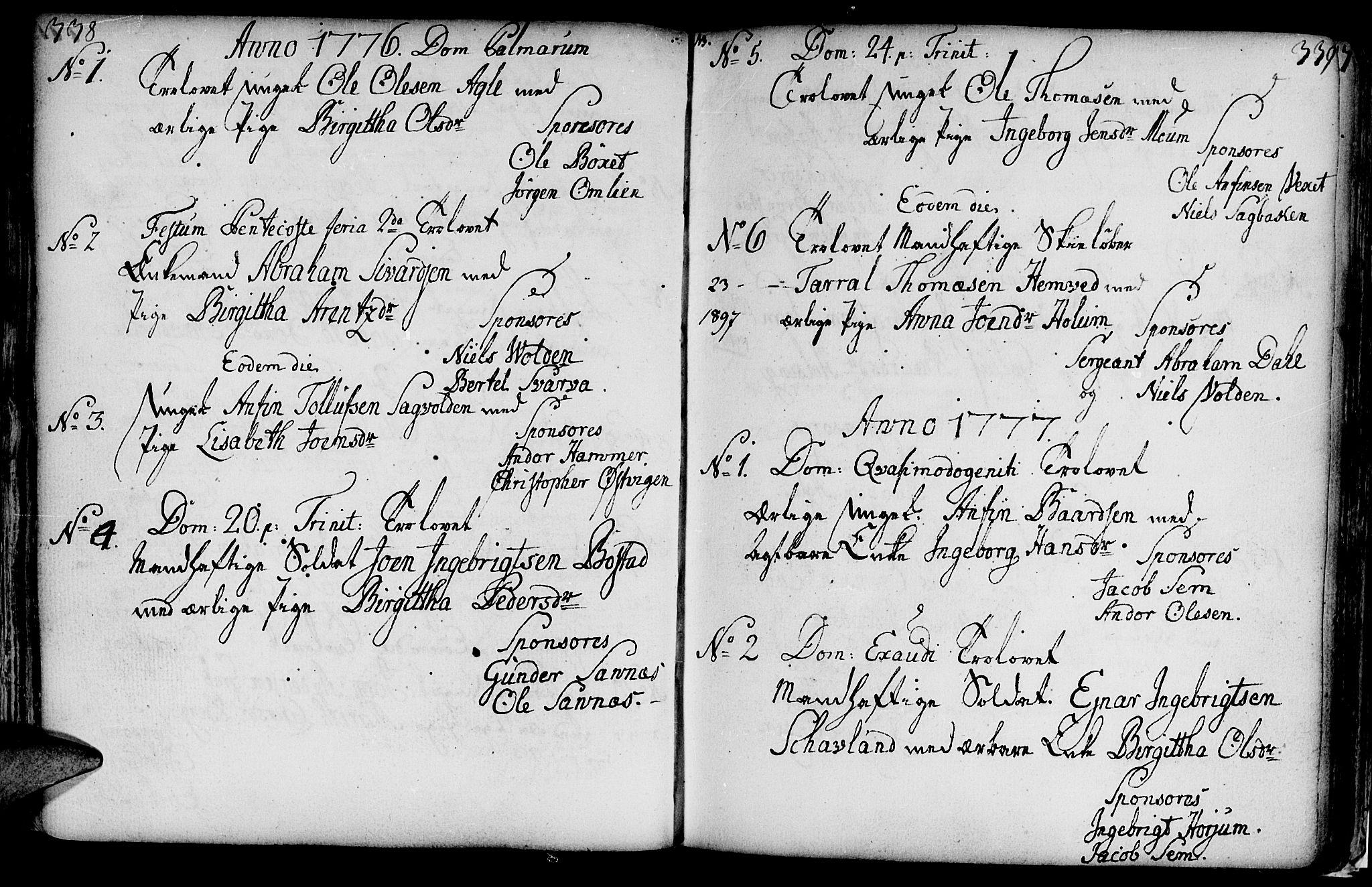 SAT, Ministerialprotokoller, klokkerbøker og fødselsregistre - Nord-Trøndelag, 749/L0467: Ministerialbok nr. 749A01, 1733-1787, s. 338-339