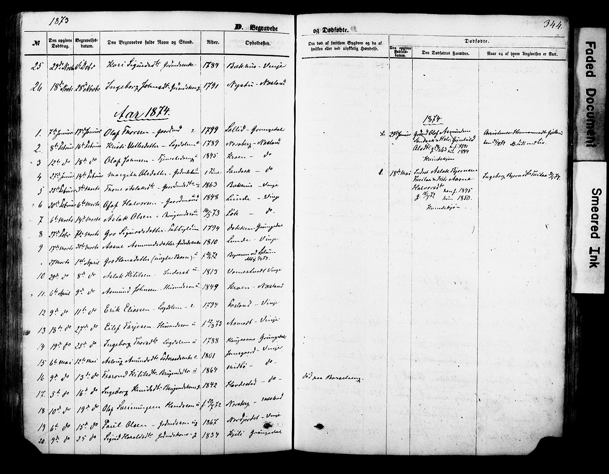 SAKO, Vinje kirkebøker, F/Fa/L0005: Ministerialbok nr. I 5, 1870-1886, s. 344