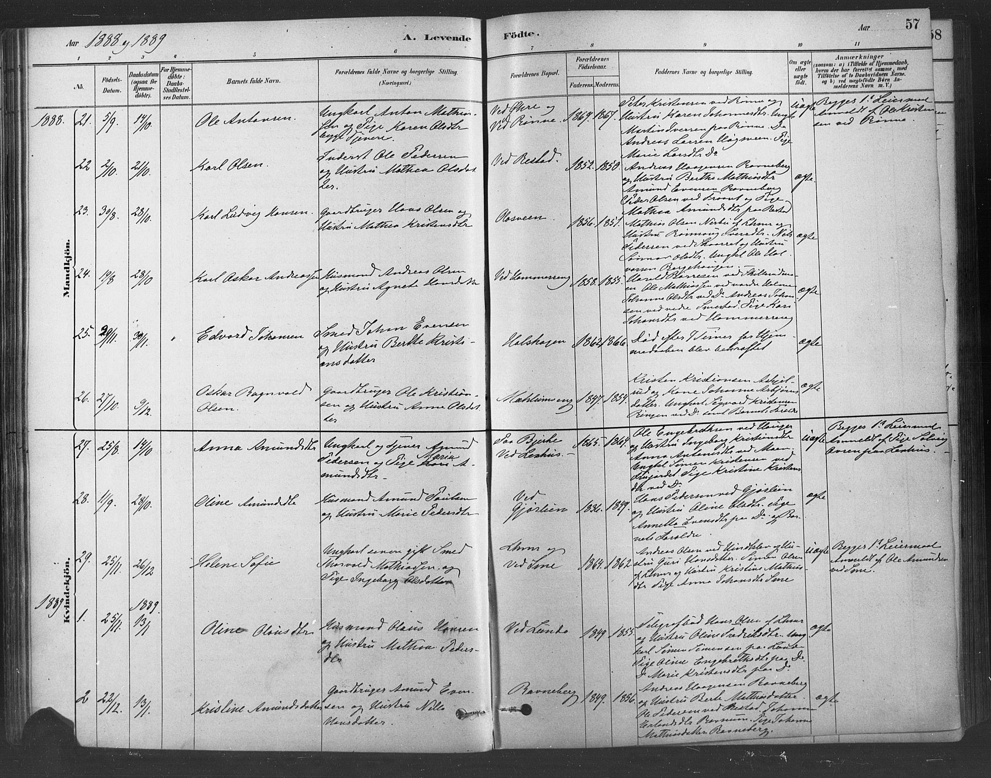 SAH, Fåberg prestekontor, Ministerialbok nr. 9, 1879-1898, s. 57