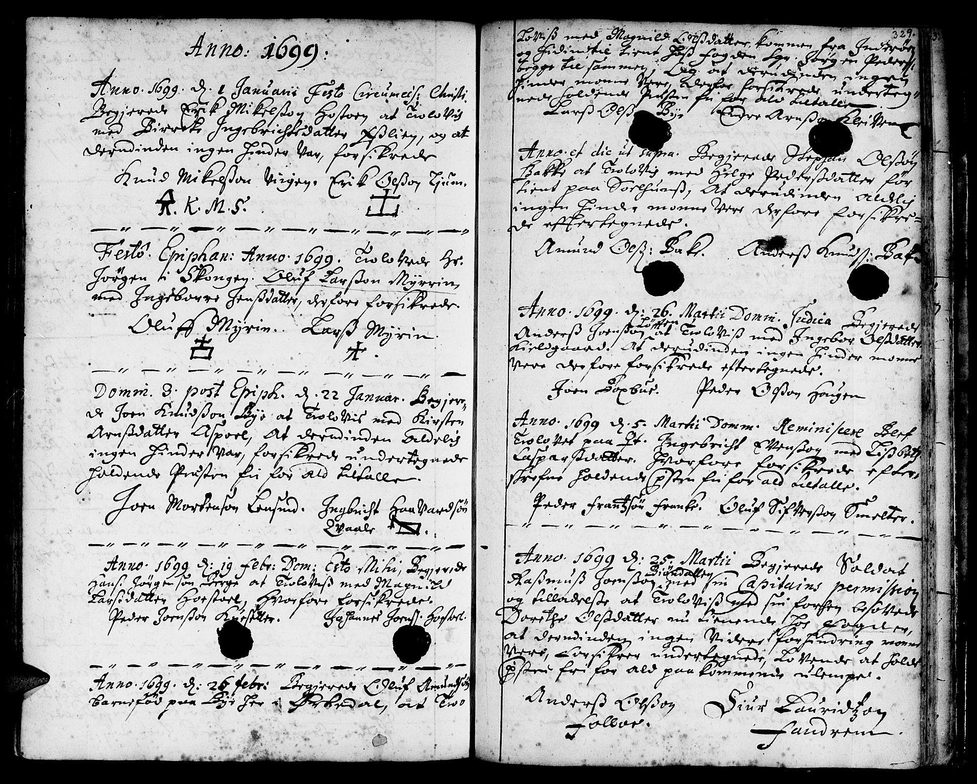SAT, Ministerialprotokoller, klokkerbøker og fødselsregistre - Sør-Trøndelag, 668/L0801: Ministerialbok nr. 668A01, 1695-1716, s. 328-329