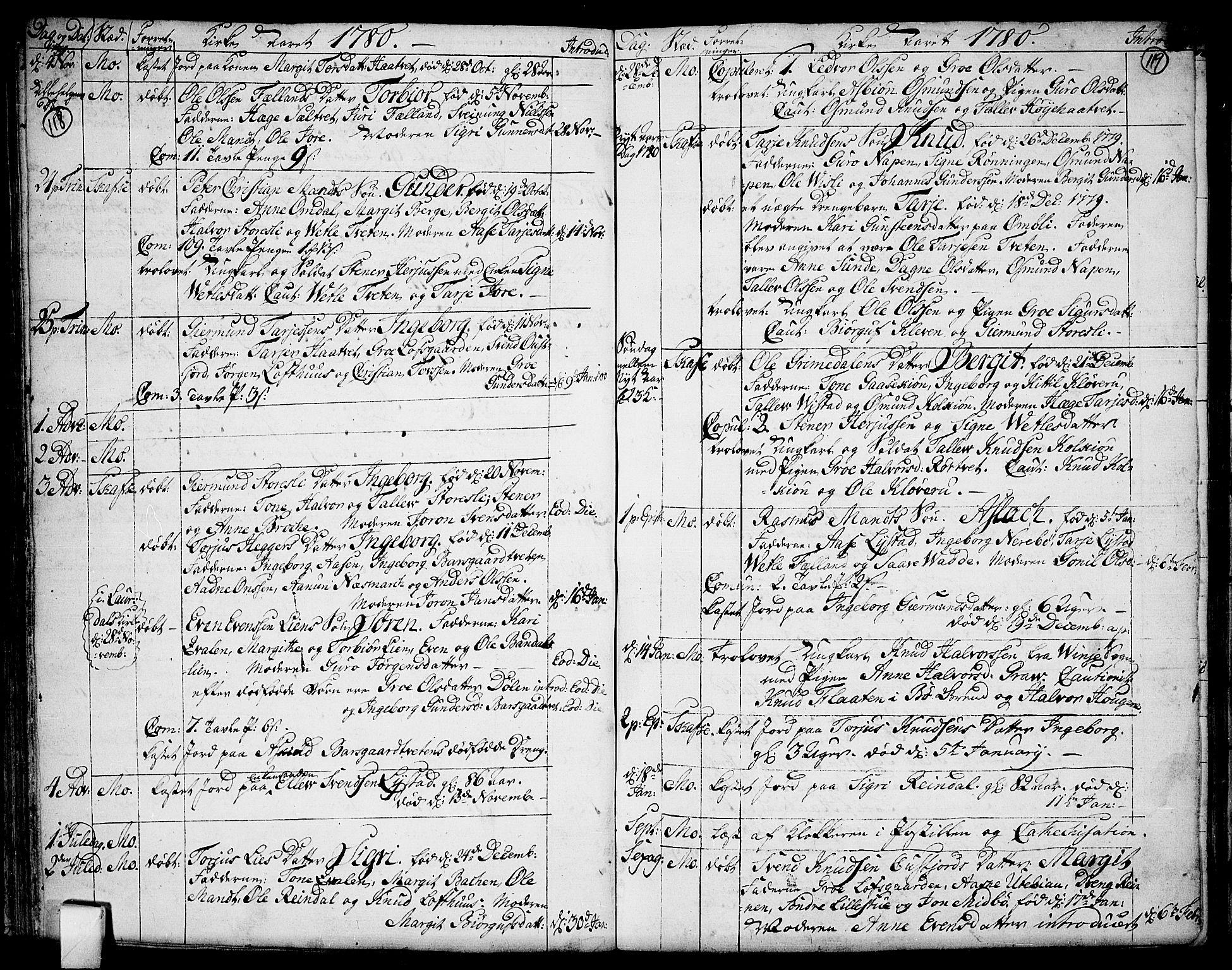 SAKO, Mo kirkebøker, F/Fa/L0002: Ministerialbok nr. I 2, 1766-1799, s. 118-119