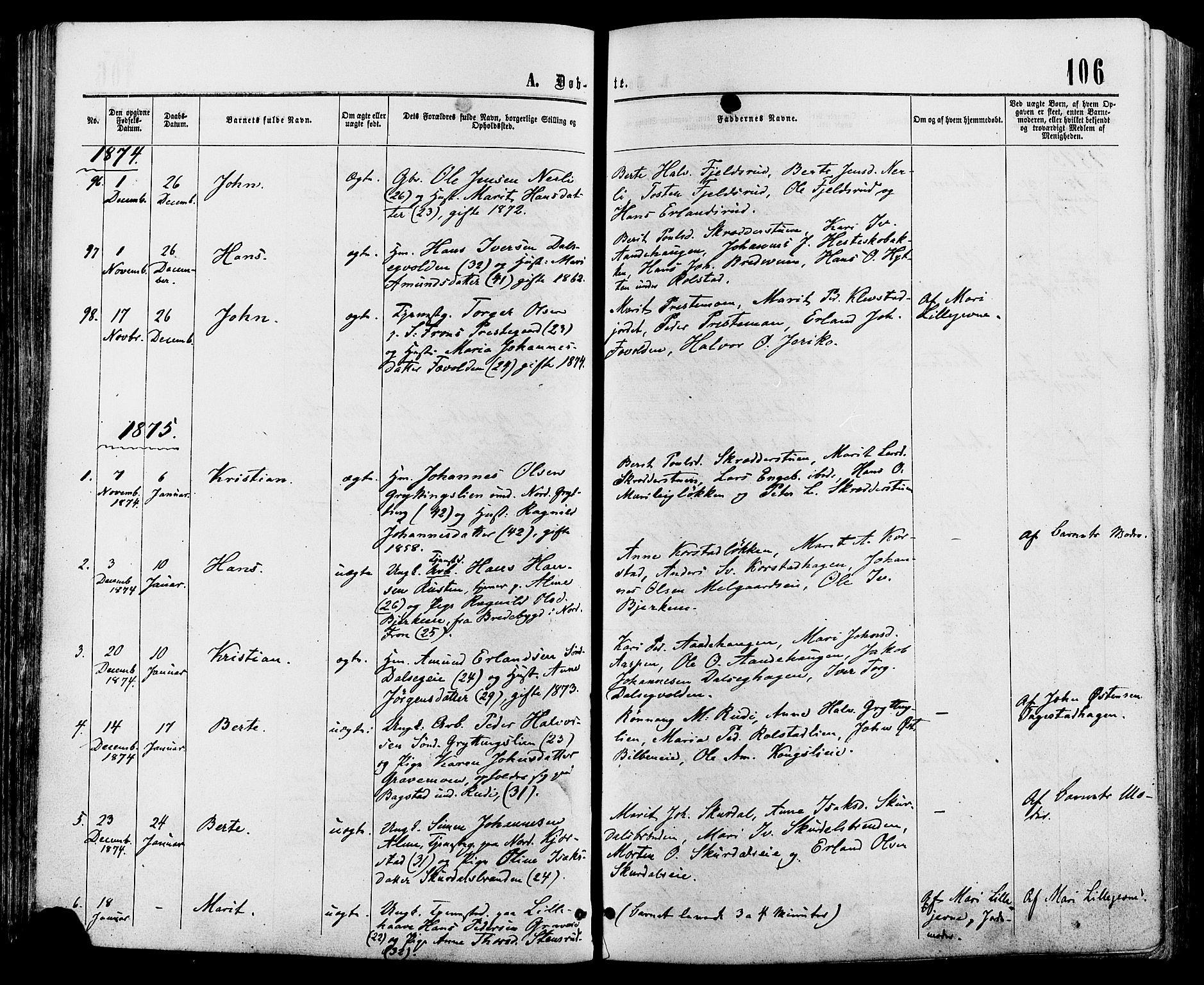 SAH, Sør-Fron prestekontor, H/Ha/Haa/L0002: Ministerialbok nr. 2, 1864-1880, s. 106