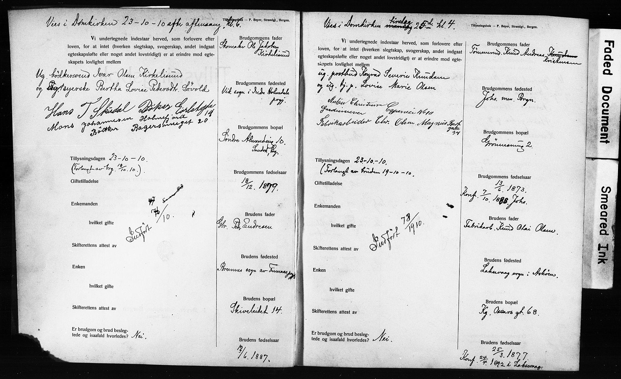 SAB, Domkirken Sokneprestembete, Forlovererklæringer nr. II.5.12, 1910-1917, s. 2