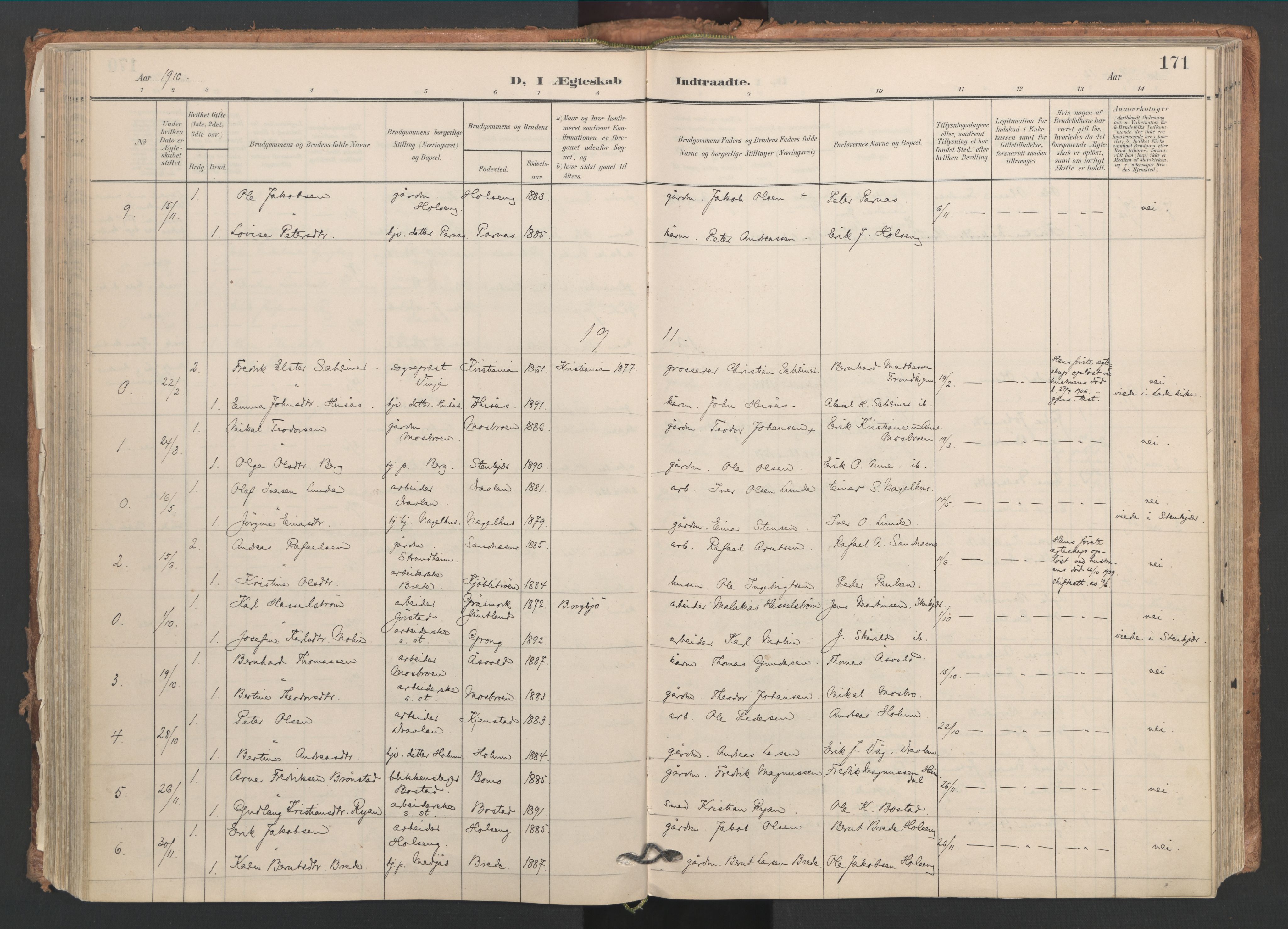 SAT, Ministerialprotokoller, klokkerbøker og fødselsregistre - Nord-Trøndelag, 749/L0477: Ministerialbok nr. 749A11, 1902-1927, s. 171
