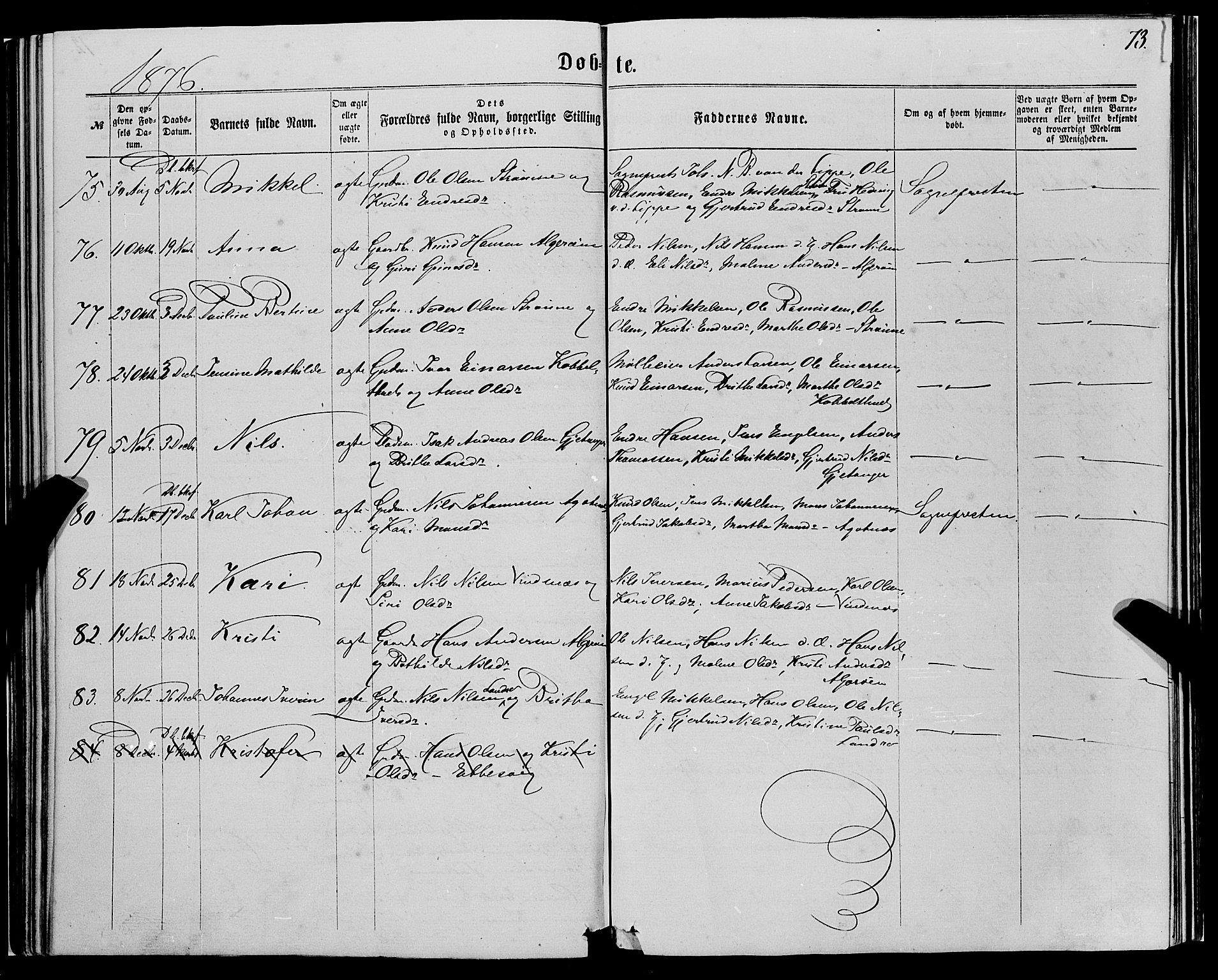 SAB, Fjell sokneprestembete, H/Haa: Ministerialbok nr. A 3, 1864-1877, s. 73
