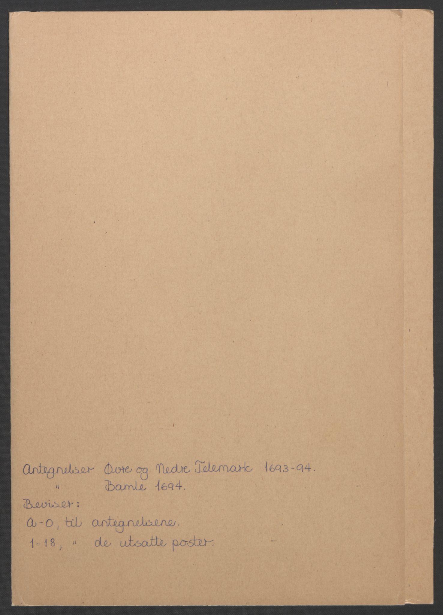 RA, Rentekammeret inntil 1814, Reviderte regnskaper, Fogderegnskap, R36/L2092: Fogderegnskap Øvre og Nedre Telemark og Bamble, 1694, s. 274